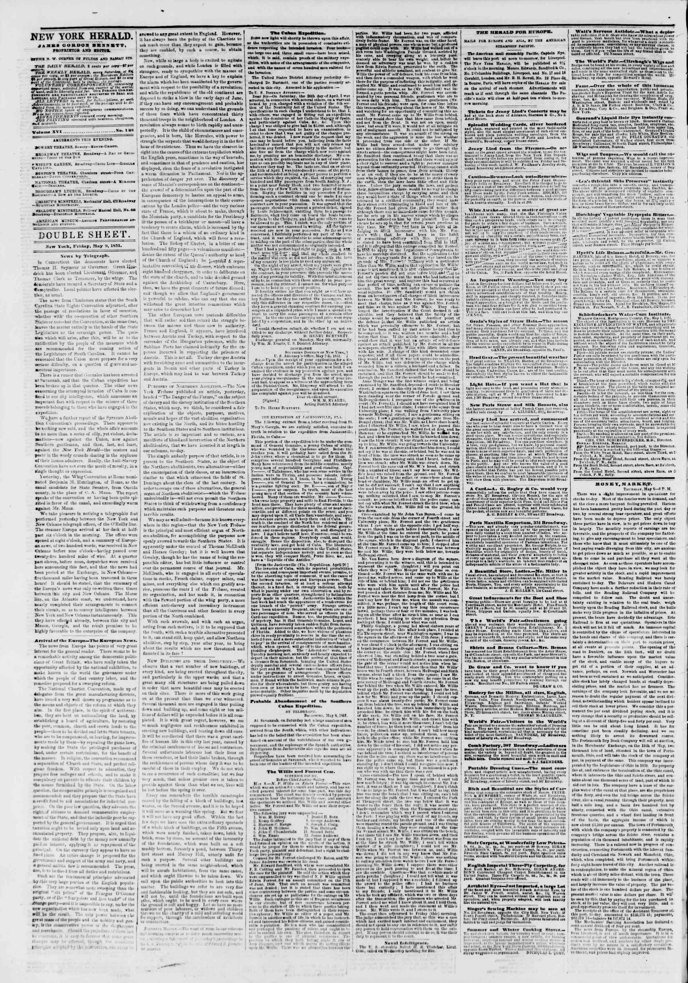 Newspaper of The New York Herald dated May 9, 1851 Page 4