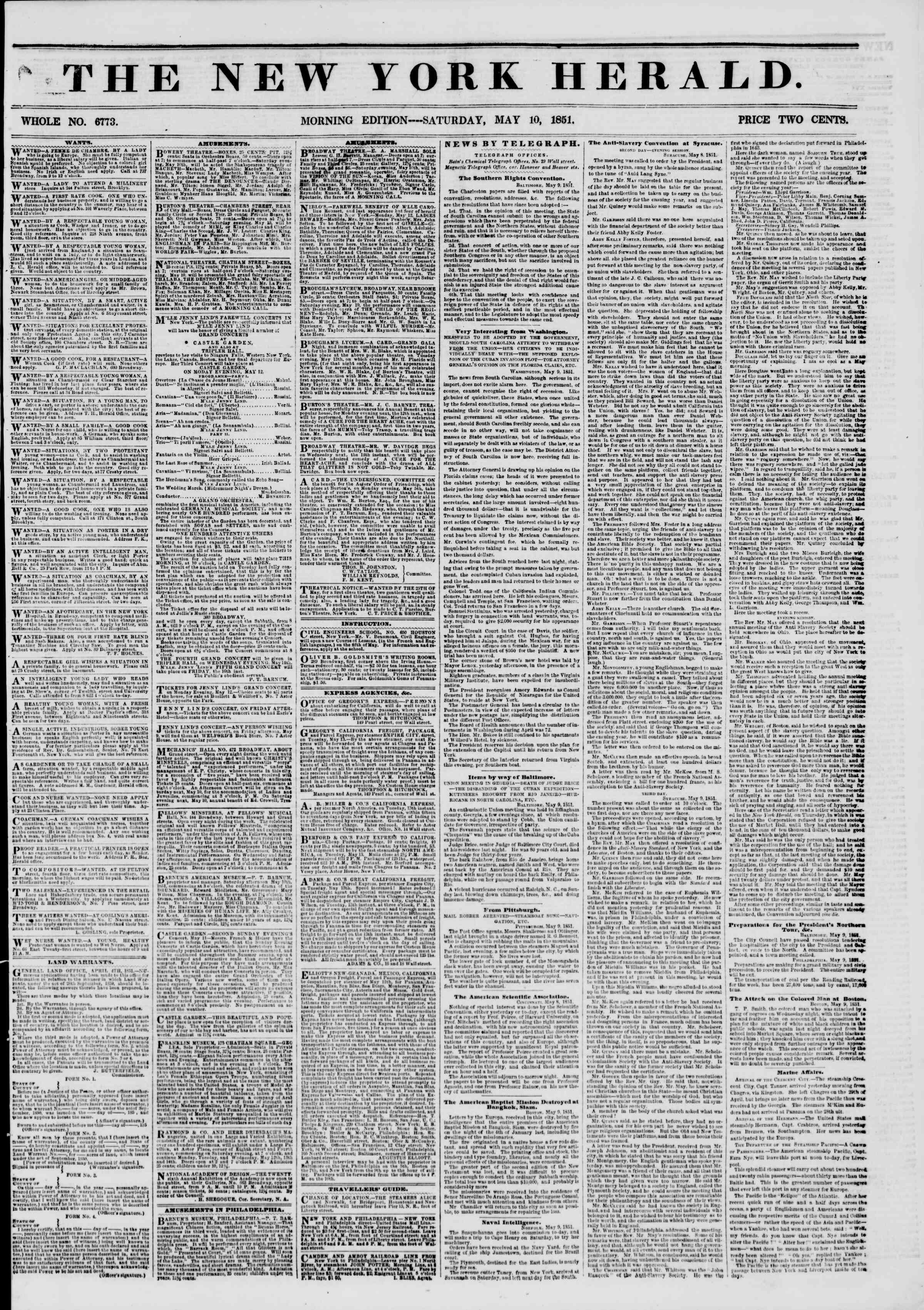Newspaper of The New York Herald dated May 10, 1851 Page 1