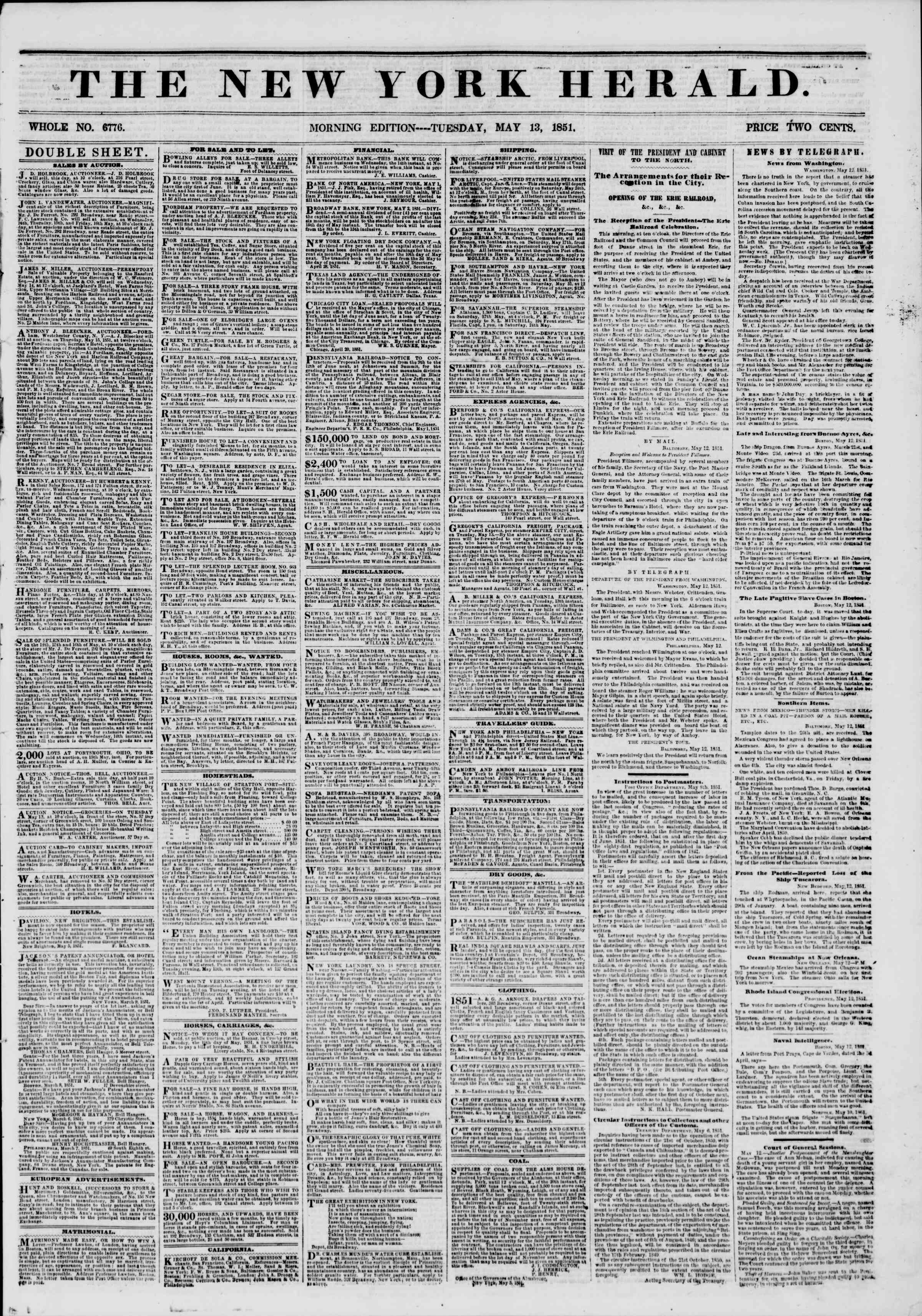 Newspaper of The New York Herald dated May 13, 1851 Page 1
