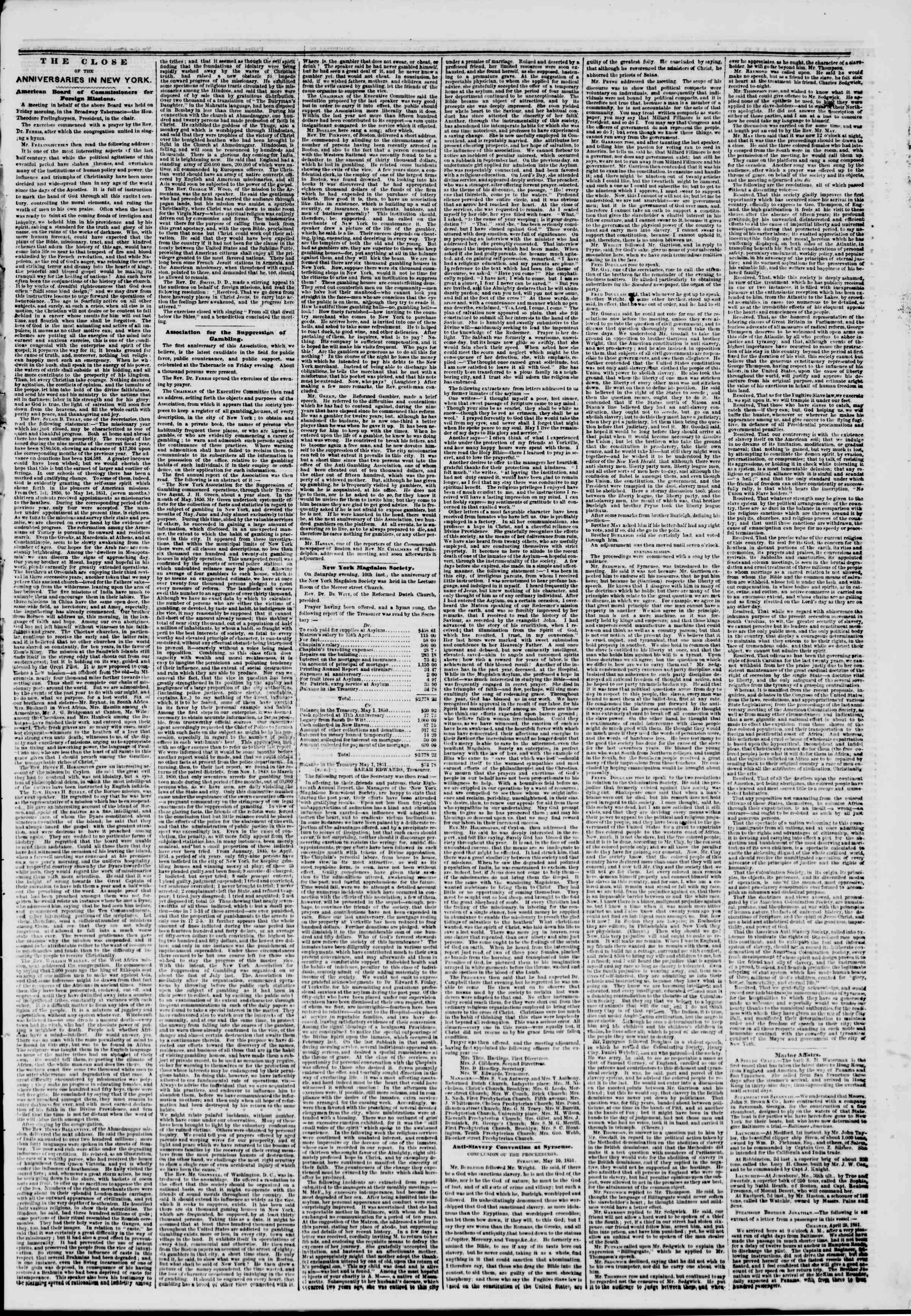 Newspaper of The New York Herald dated May 13, 1851 Page 3