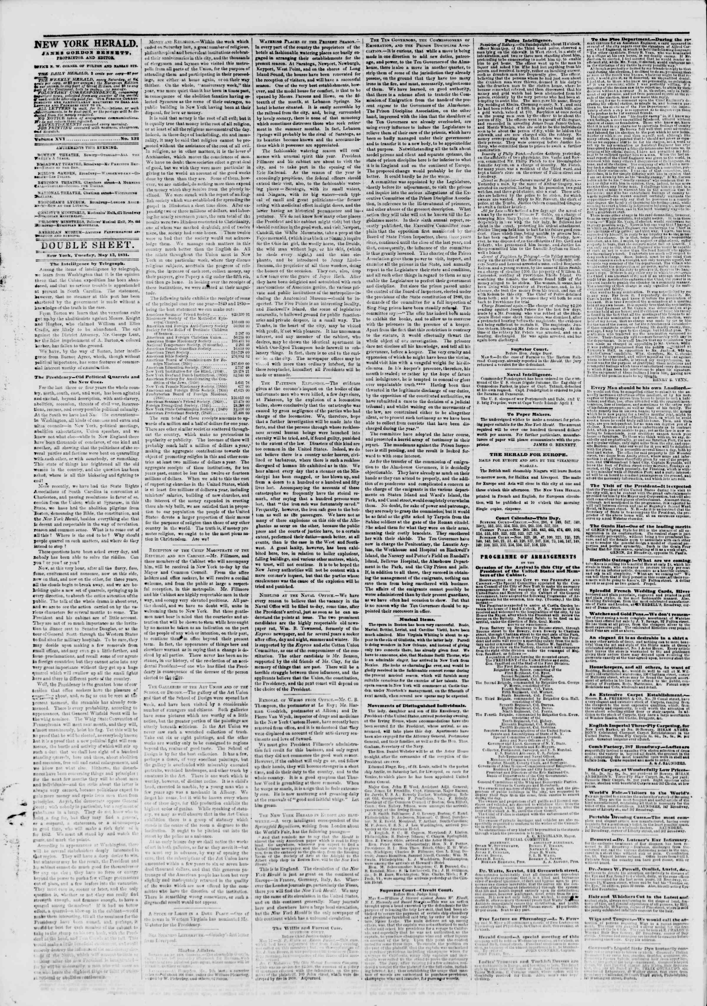 Newspaper of The New York Herald dated 13 Mayıs 1851 Page 4
