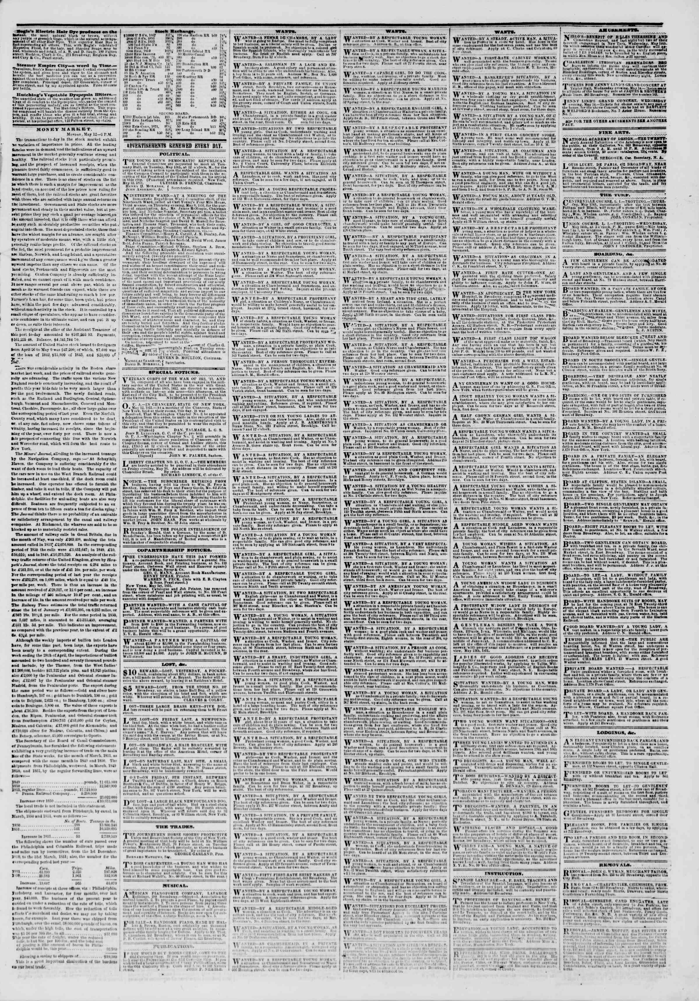 Newspaper of The New York Herald dated May 13, 1851 Page 5