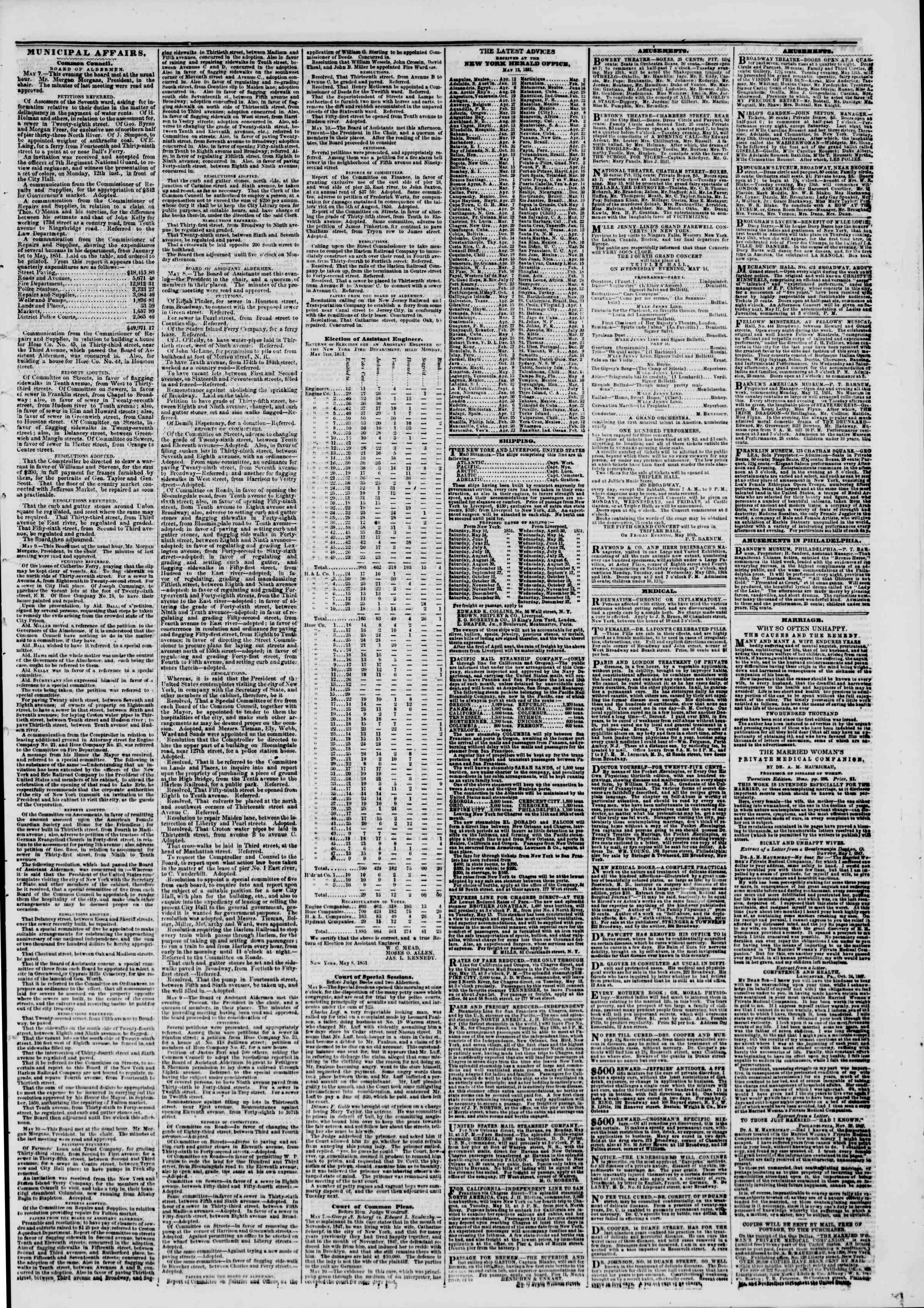 Newspaper of The New York Herald dated May 13, 1851 Page 7