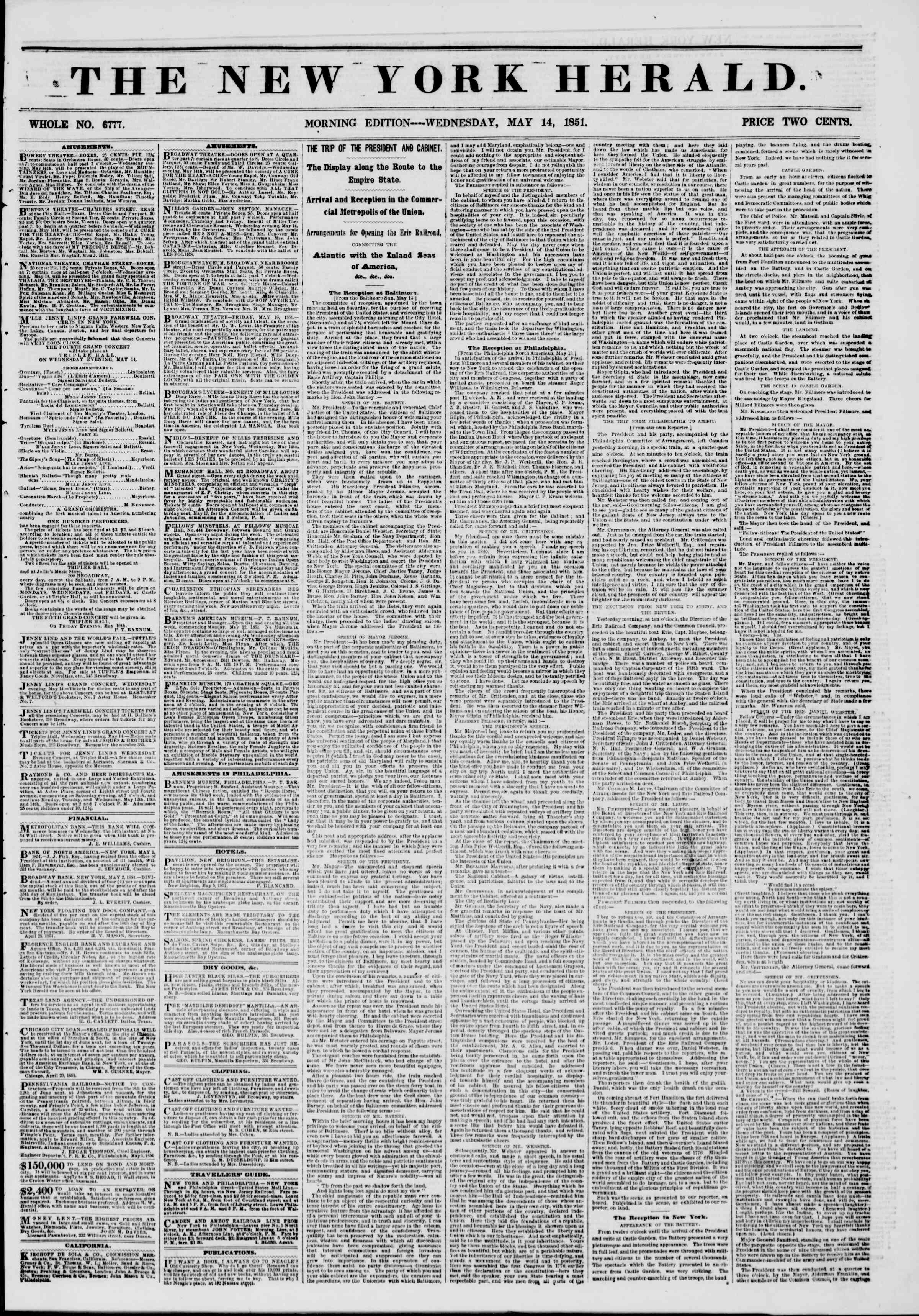 Newspaper of The New York Herald dated May 14, 1851 Page 1