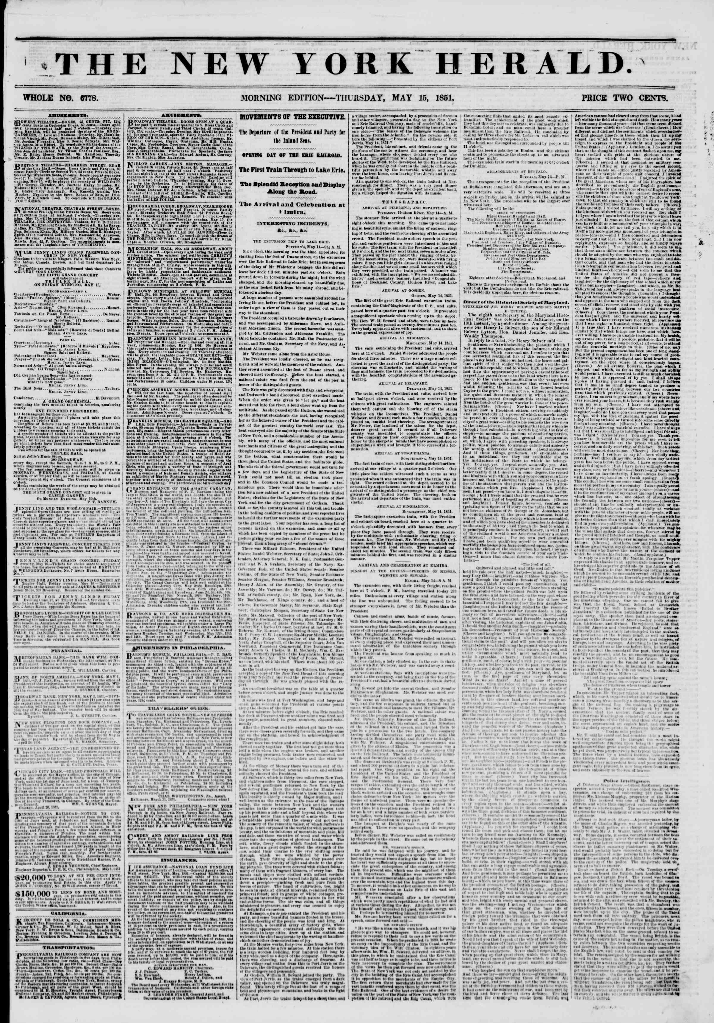 Newspaper of The New York Herald dated May 15, 1851 Page 1