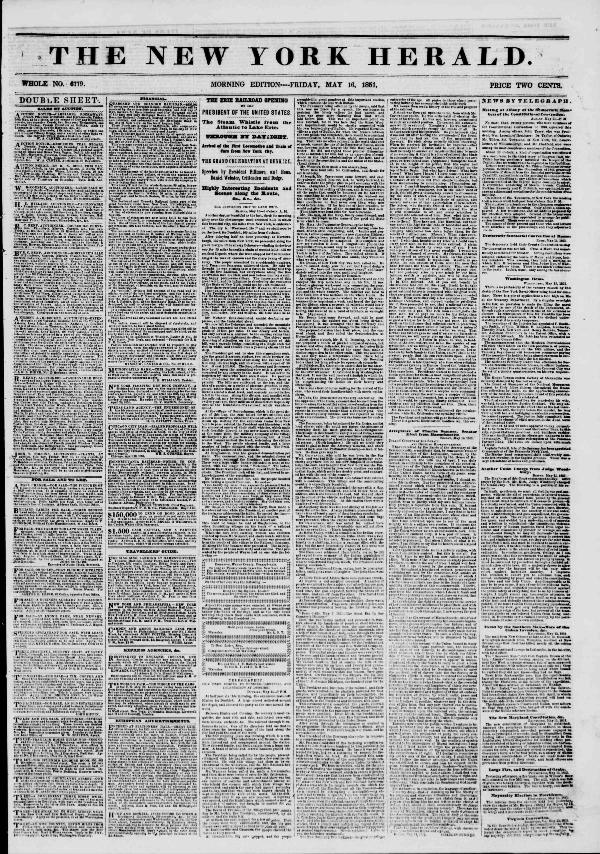 Newspaper of The New York Herald dated May 16, 1851 Page 1