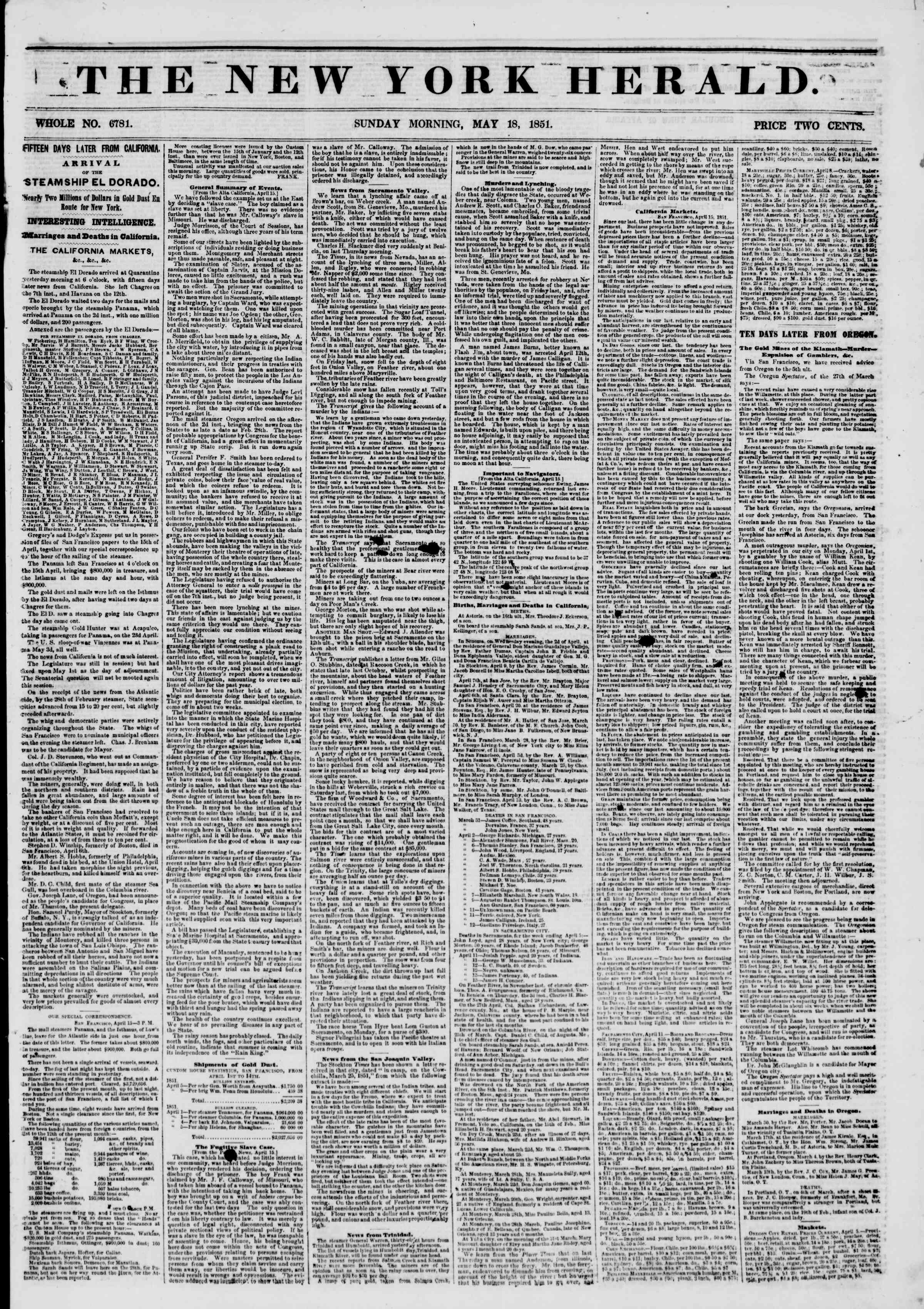 Newspaper of The New York Herald dated May 18, 1851 Page 1