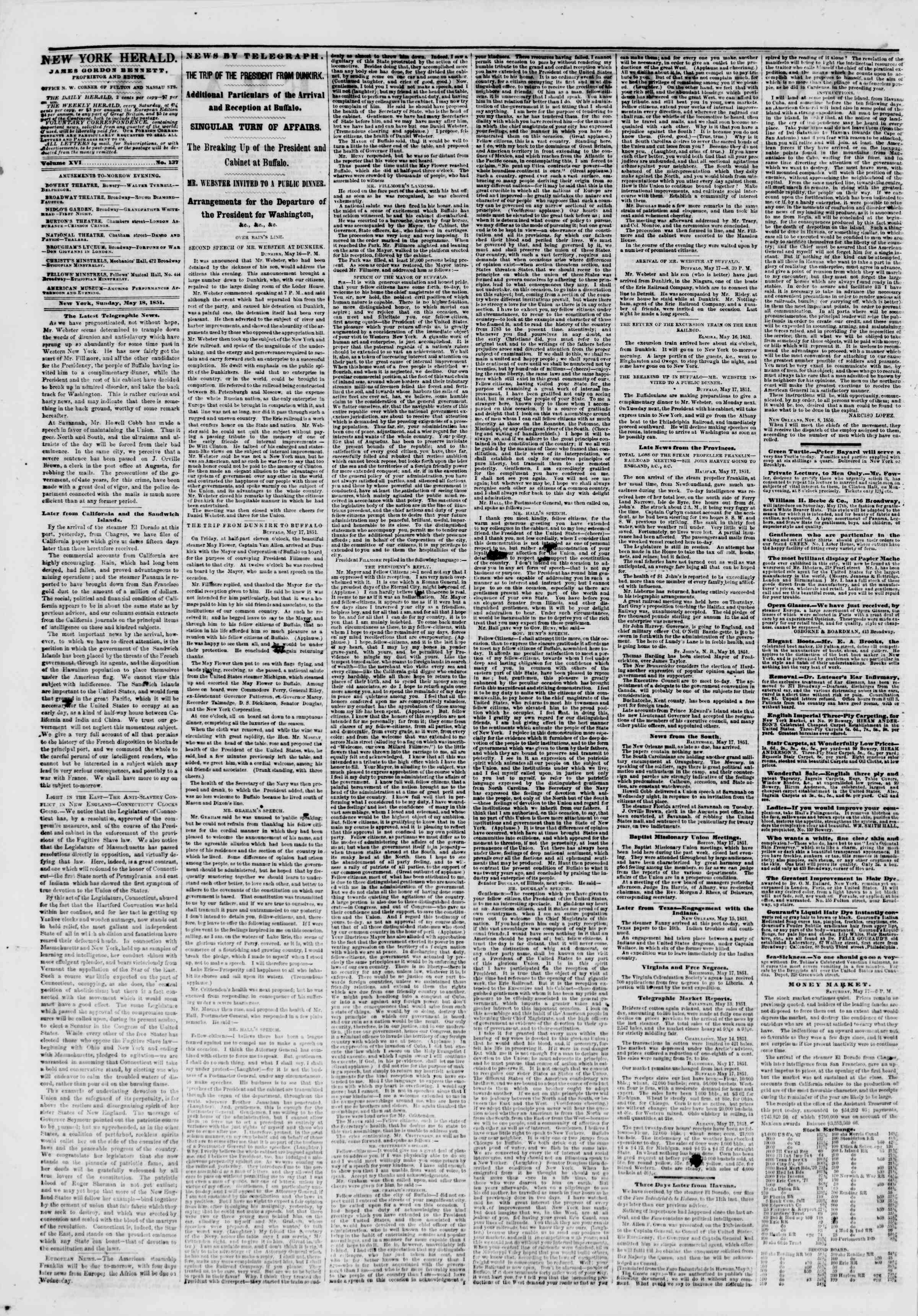 Newspaper of The New York Herald dated May 18, 1851 Page 2