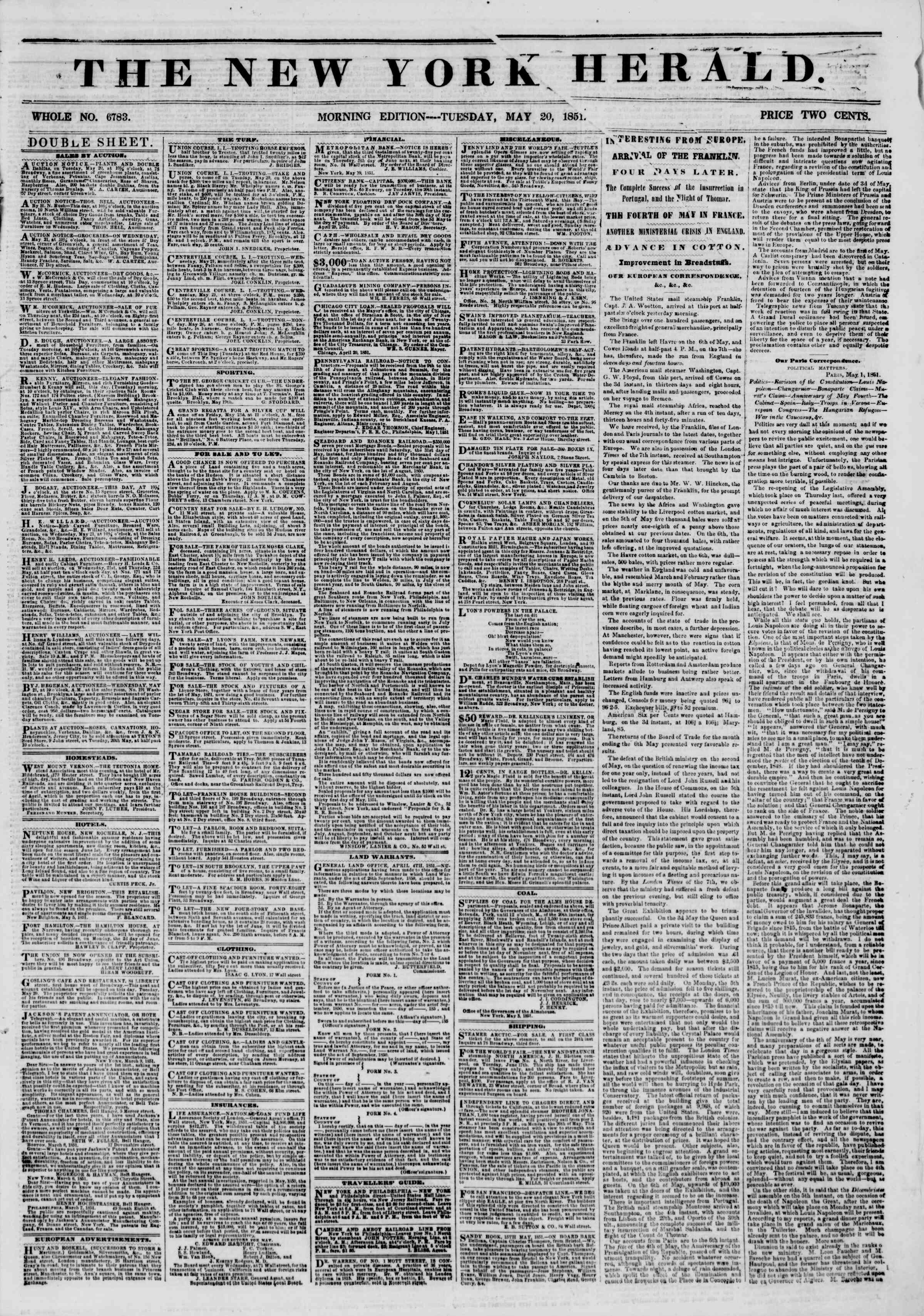 Newspaper of The New York Herald dated May 20, 1851 Page 1