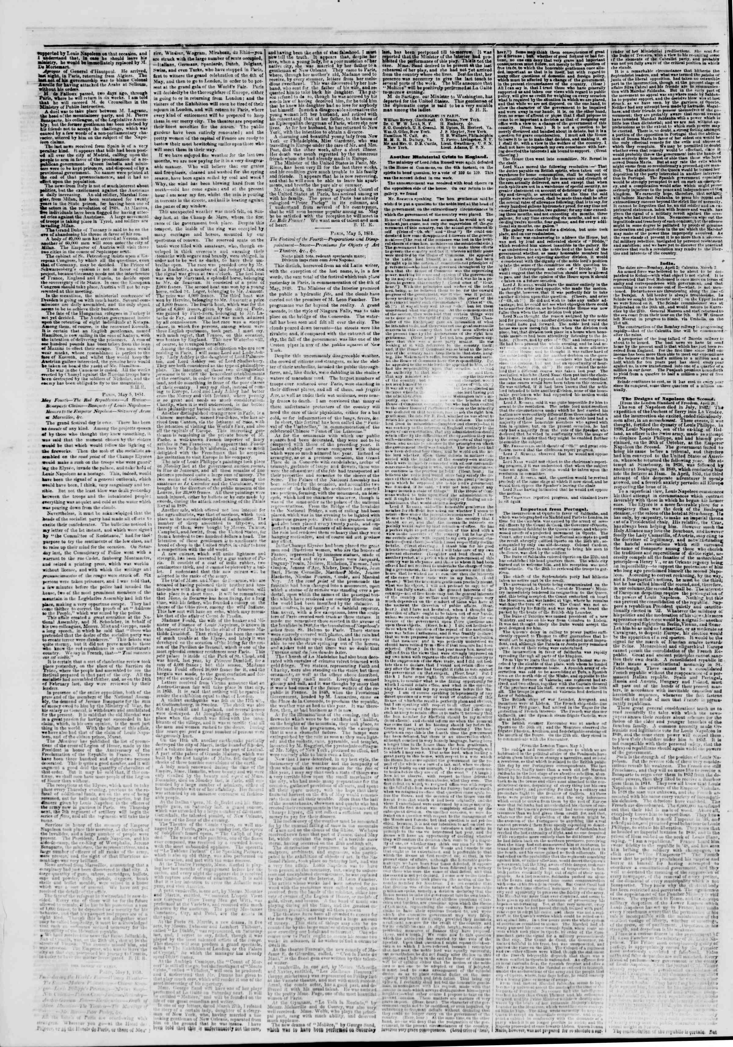 20 Mayıs 1851 tarihli The New York Herald Gazetesi Sayfa 2