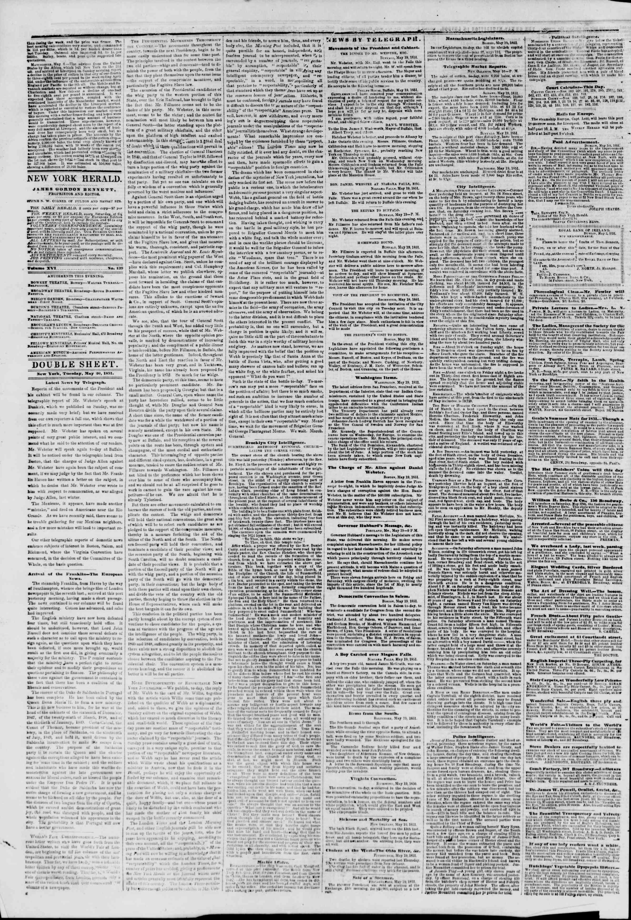 Newspaper of The New York Herald dated May 20, 1851 Page 4