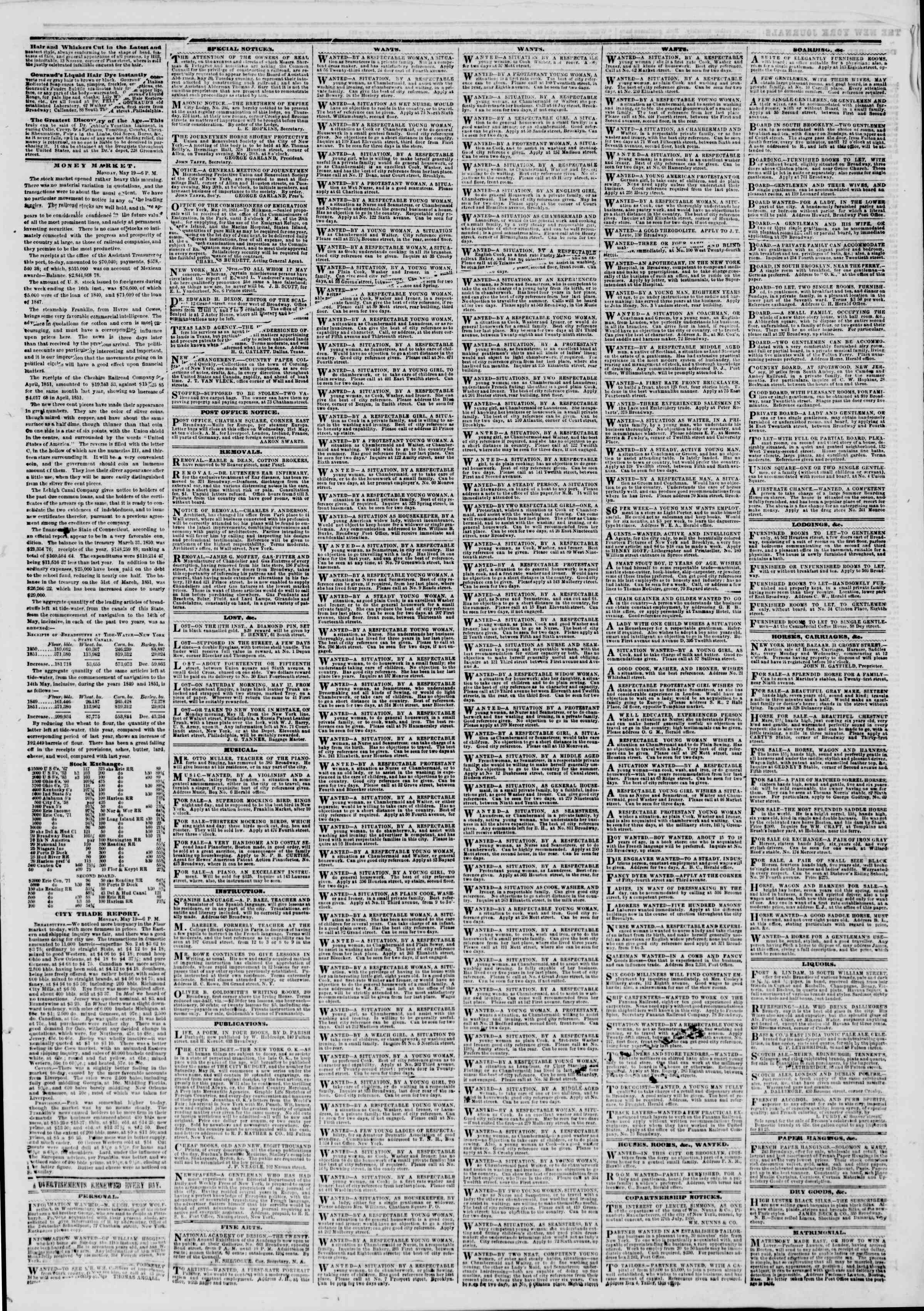 Newspaper of The New York Herald dated May 20, 1851 Page 5