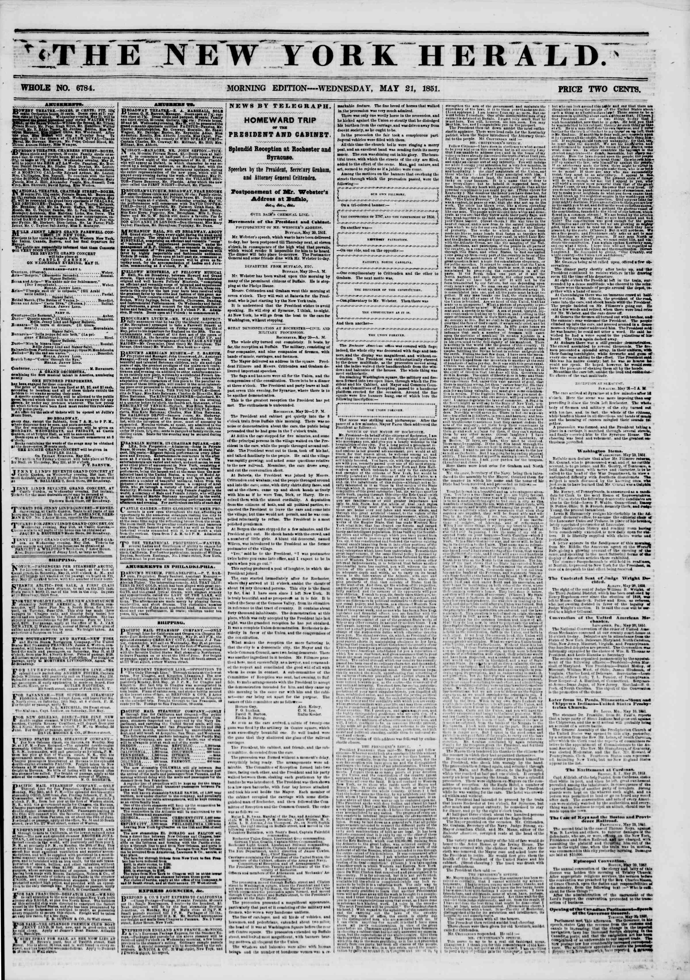 Newspaper of The New York Herald dated May 21, 1851 Page 1