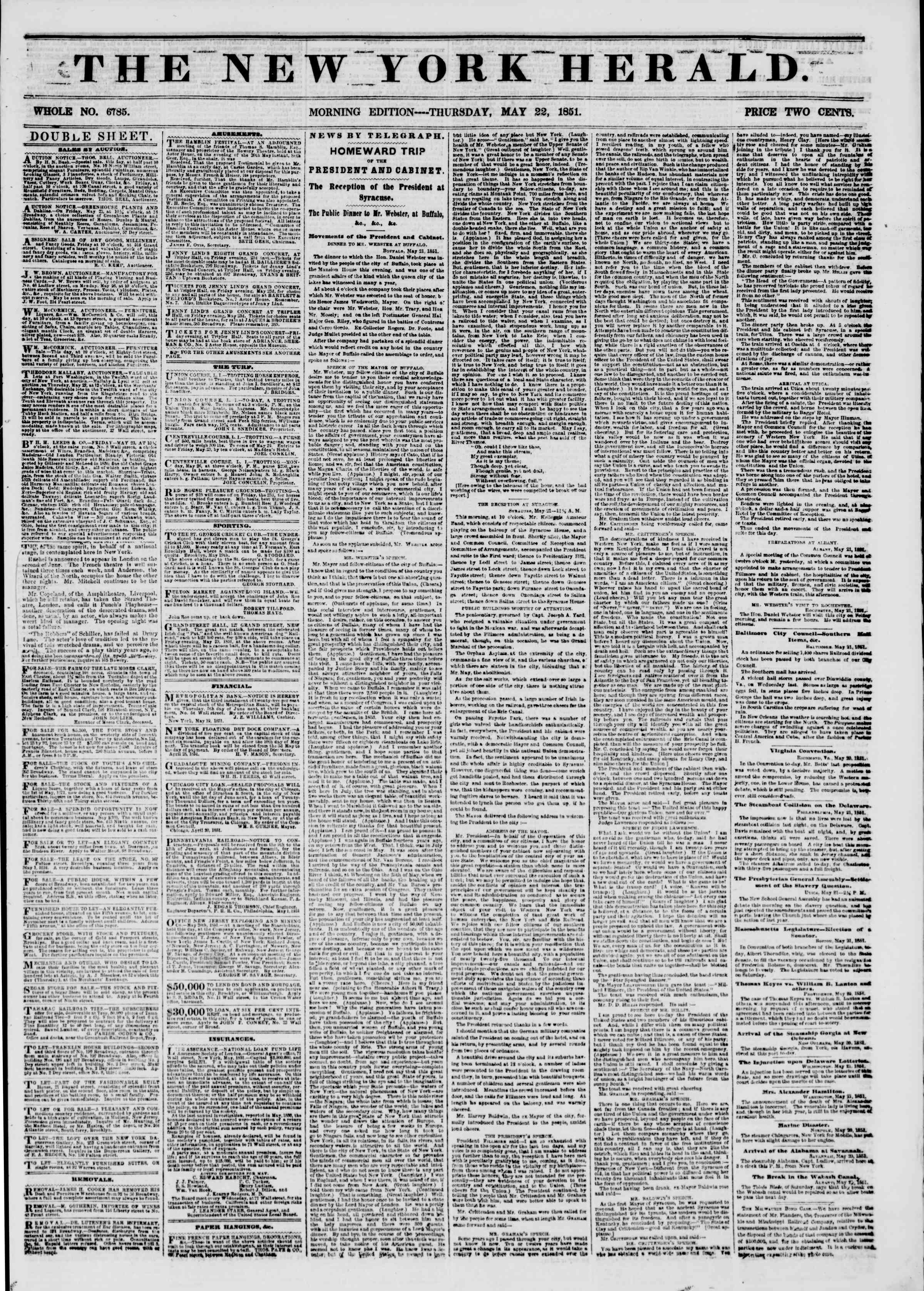 Newspaper of The New York Herald dated May 22, 1851 Page 1
