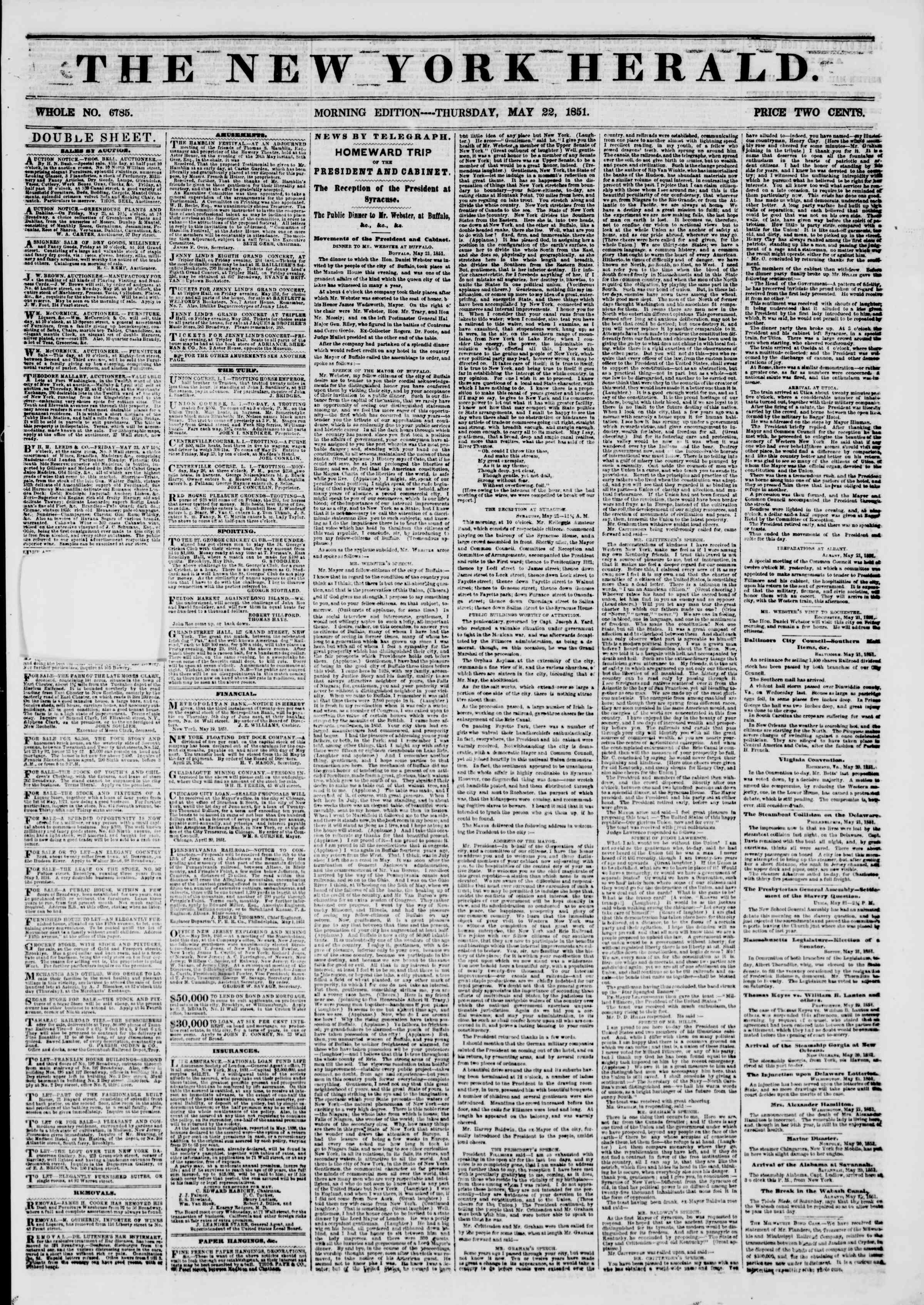 Newspaper of The New York Herald dated May 22, 1851 Page 2