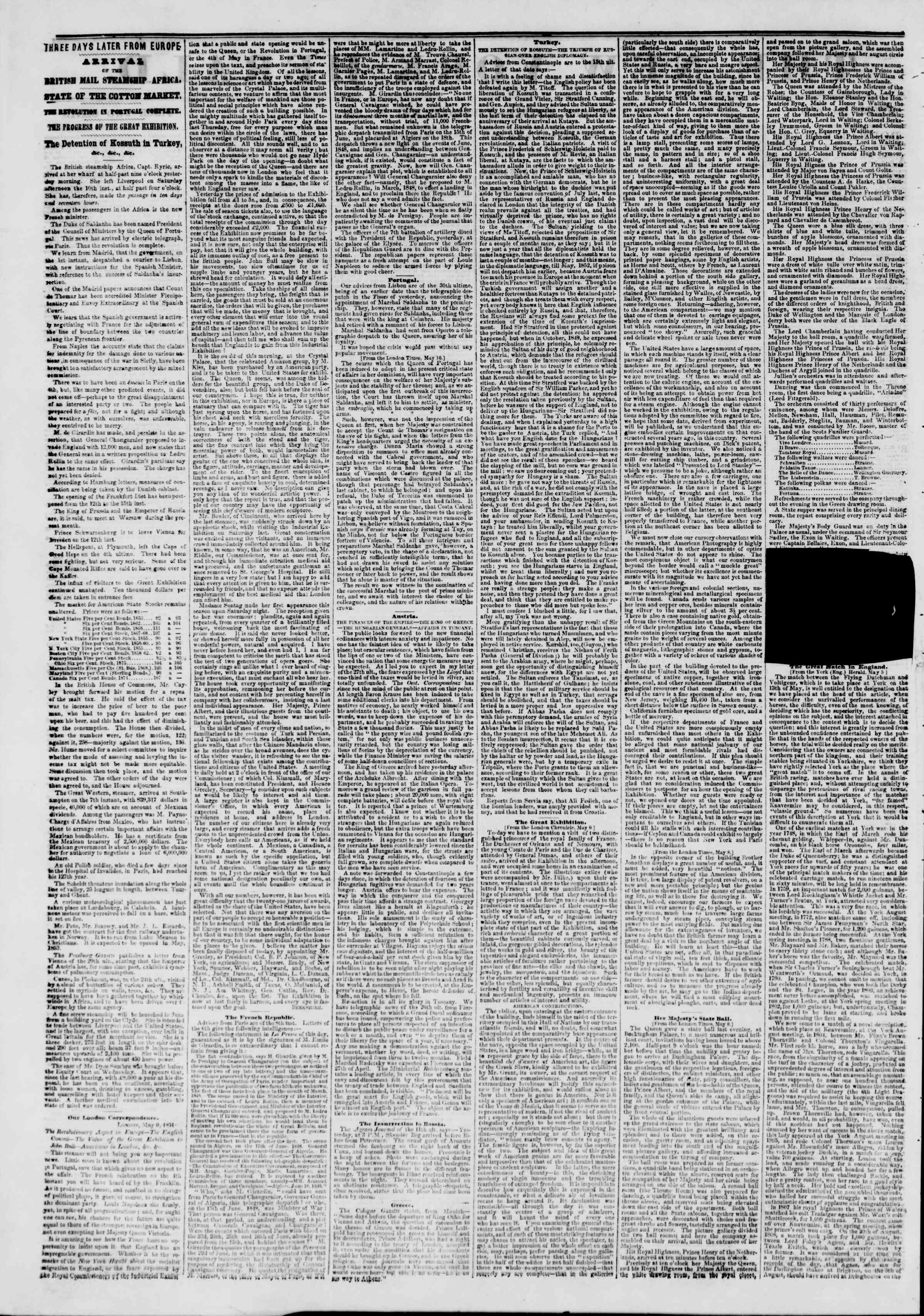 Newspaper of The New York Herald dated May 22, 1851 Page 3