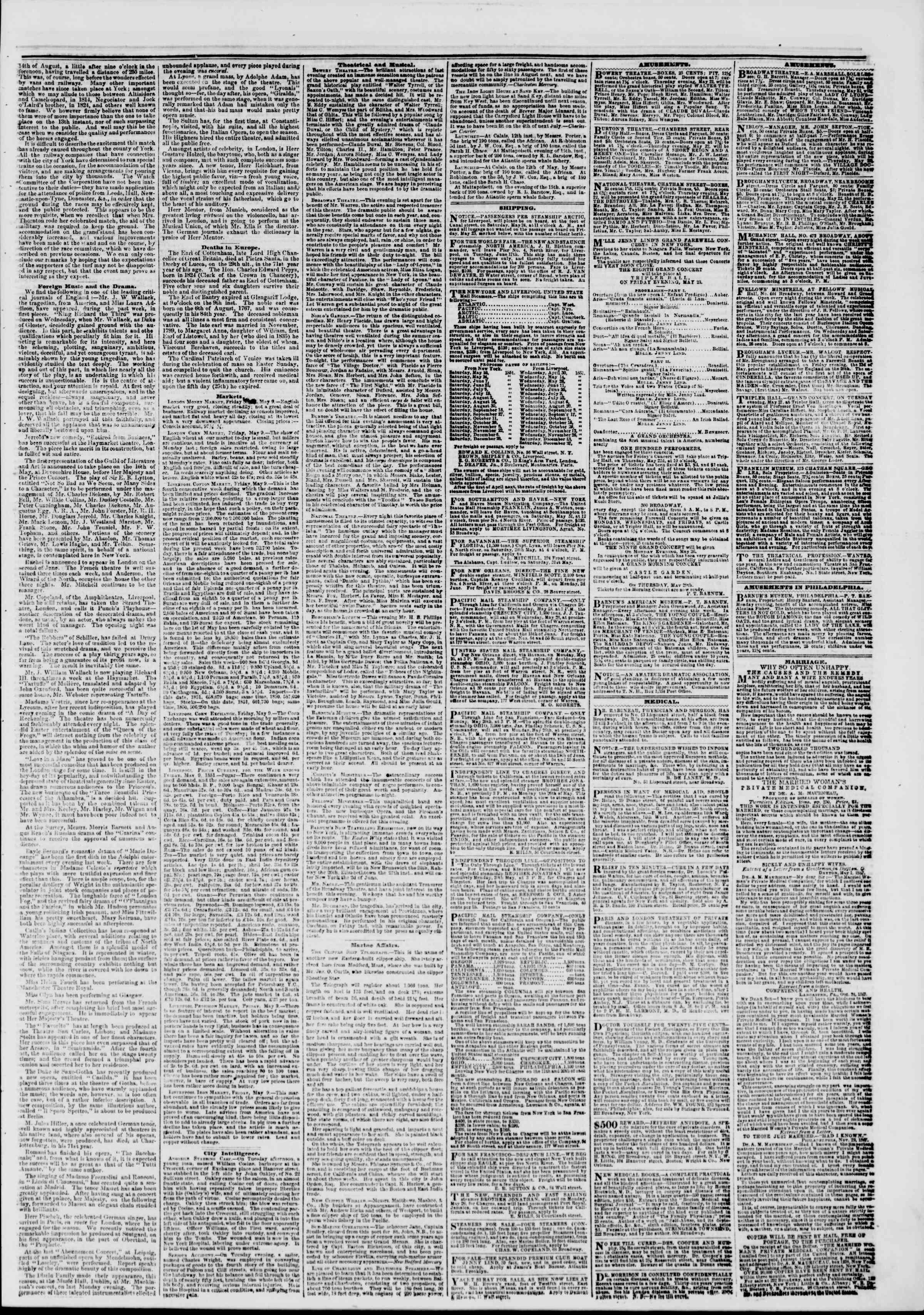 Newspaper of The New York Herald dated May 22, 1851 Page 4