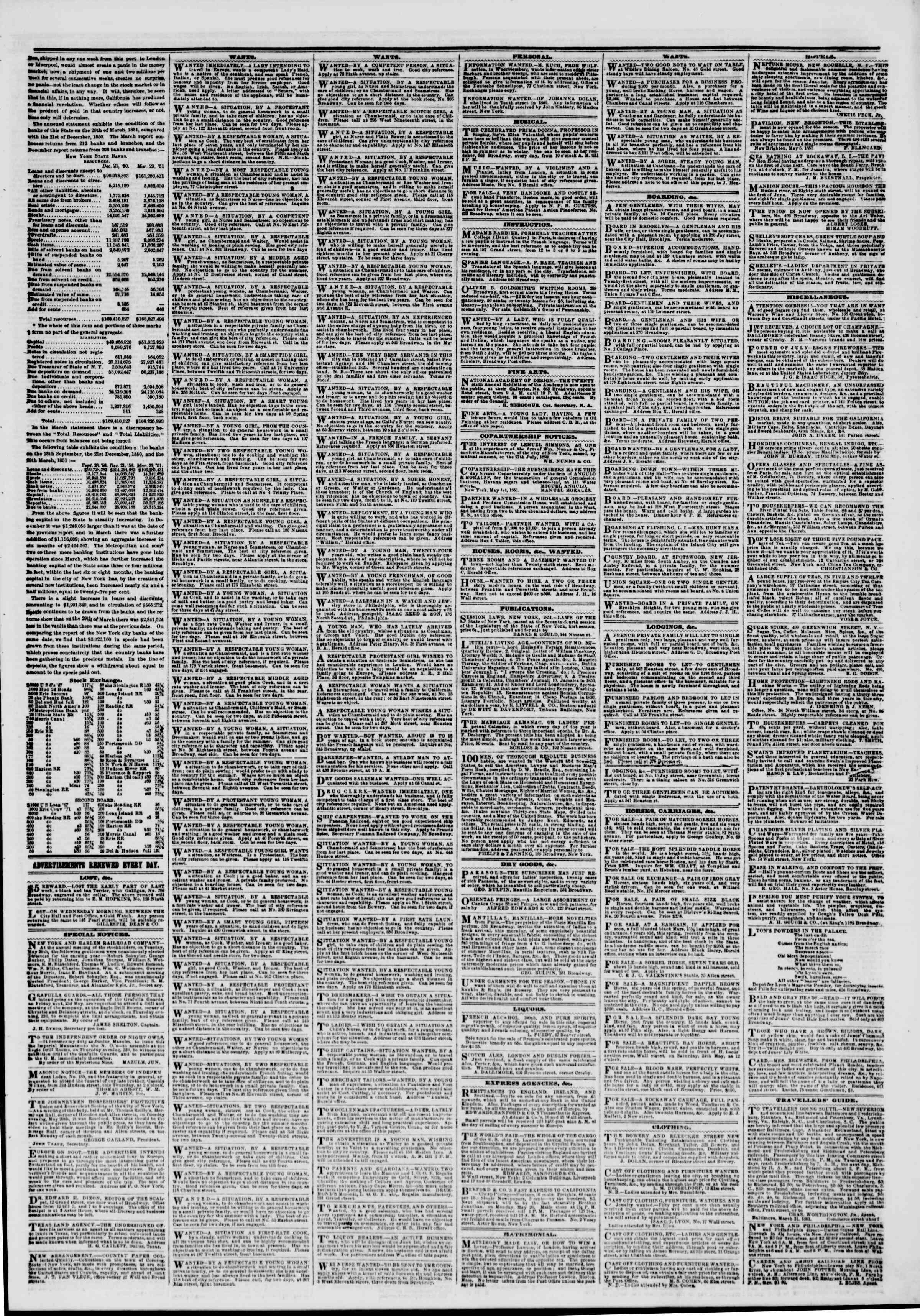Newspaper of The New York Herald dated May 22, 1851 Page 6
