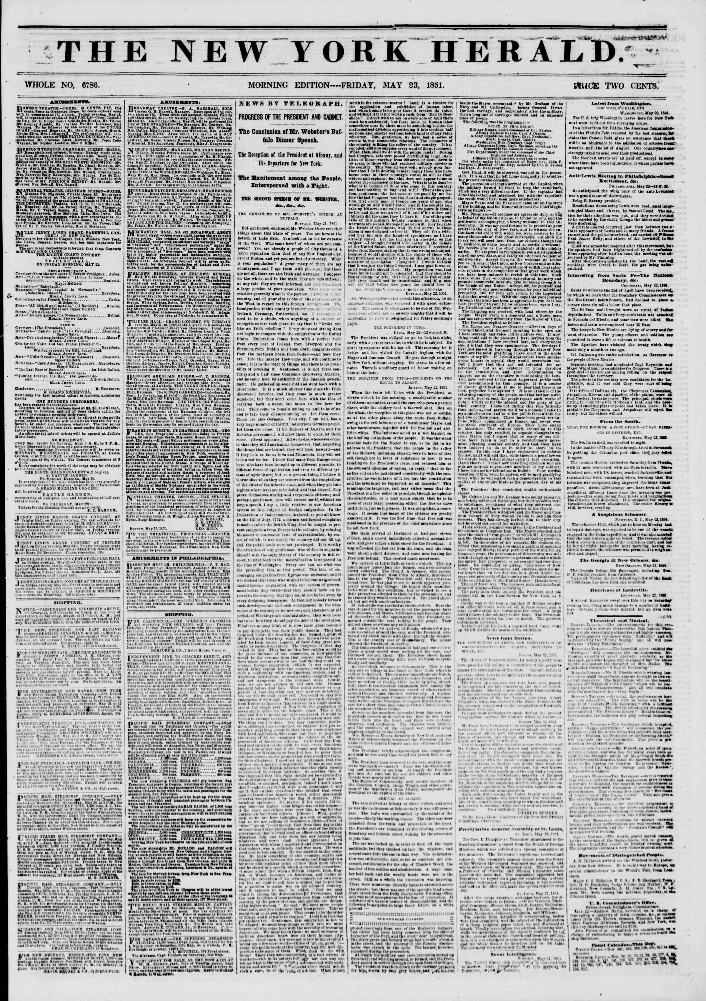 Newspaper of The New York Herald dated May 23, 1851 Page 1