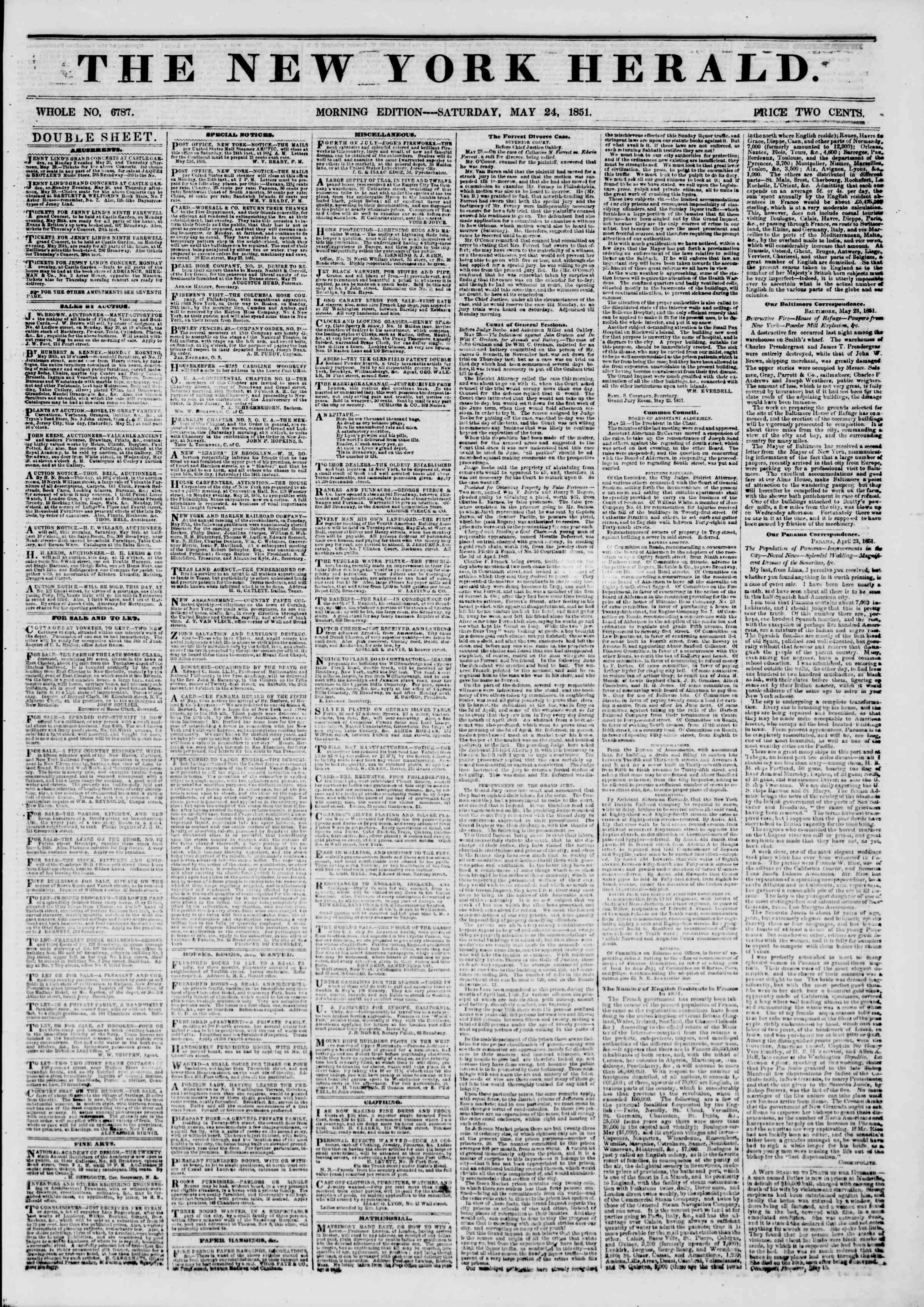 Newspaper of The New York Herald dated May 24, 1851 Page 1