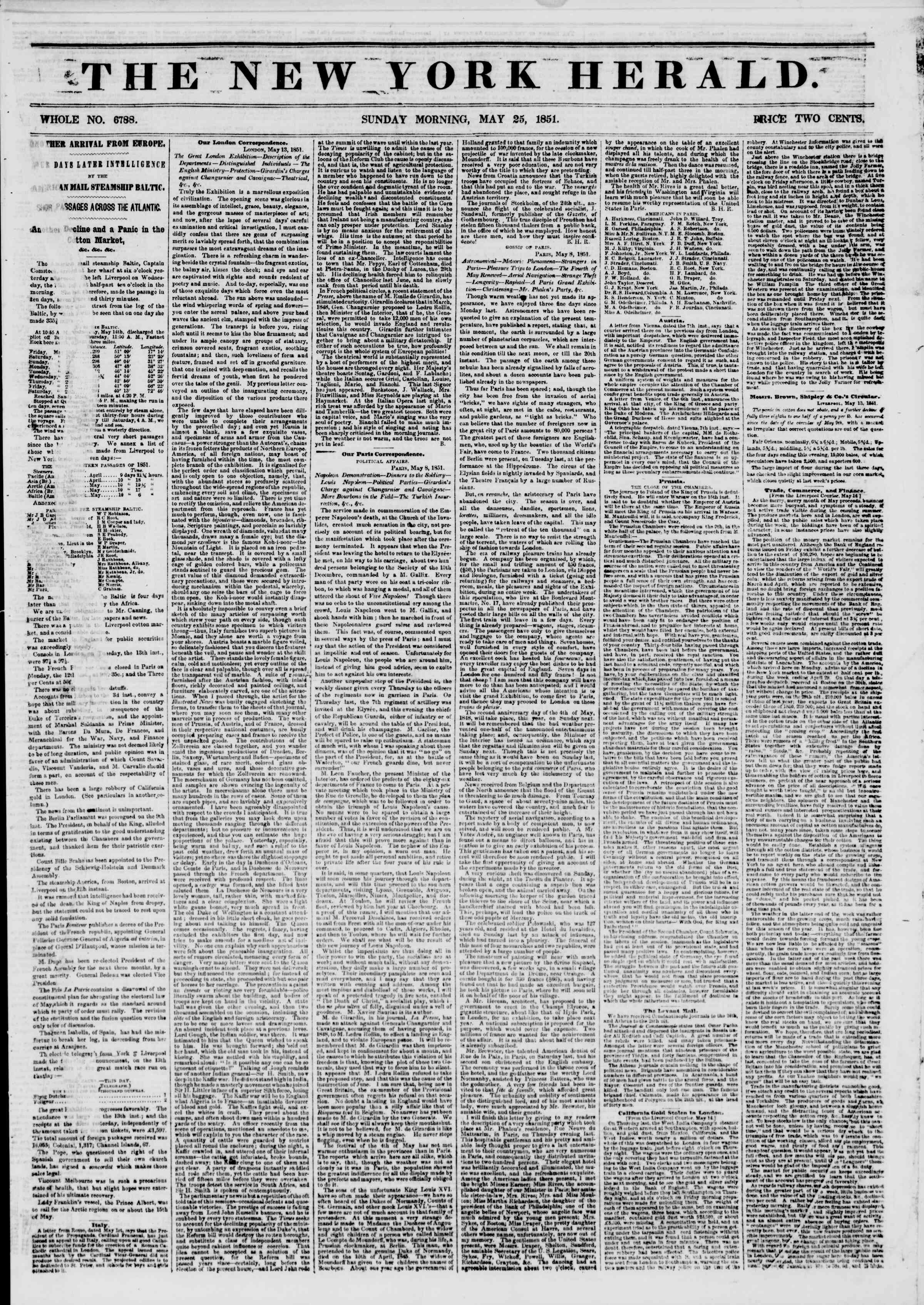 Newspaper of The New York Herald dated May 25, 1851 Page 1
