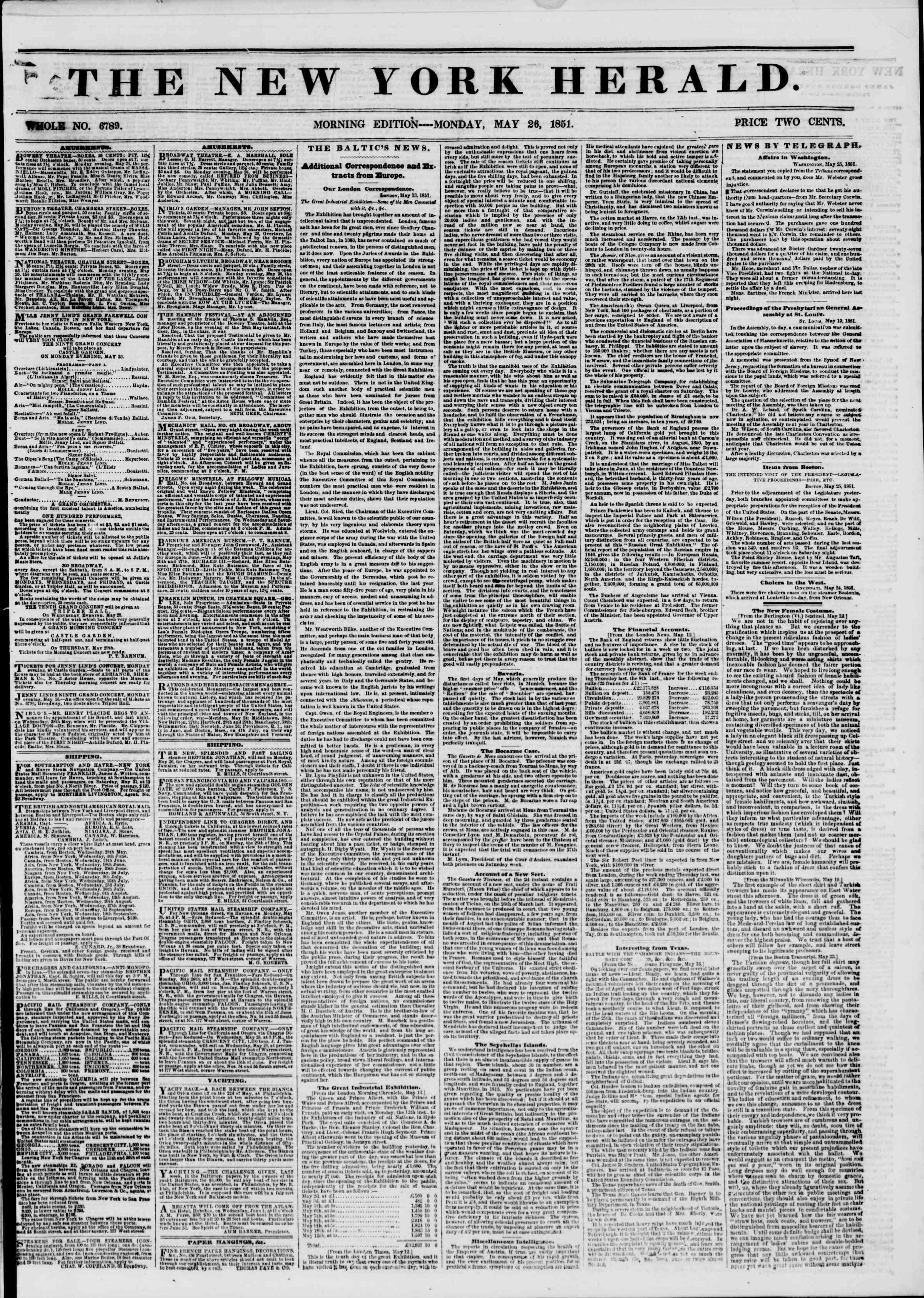 26 Mayıs 1851 tarihli The New York Herald Gazetesi Sayfa 1