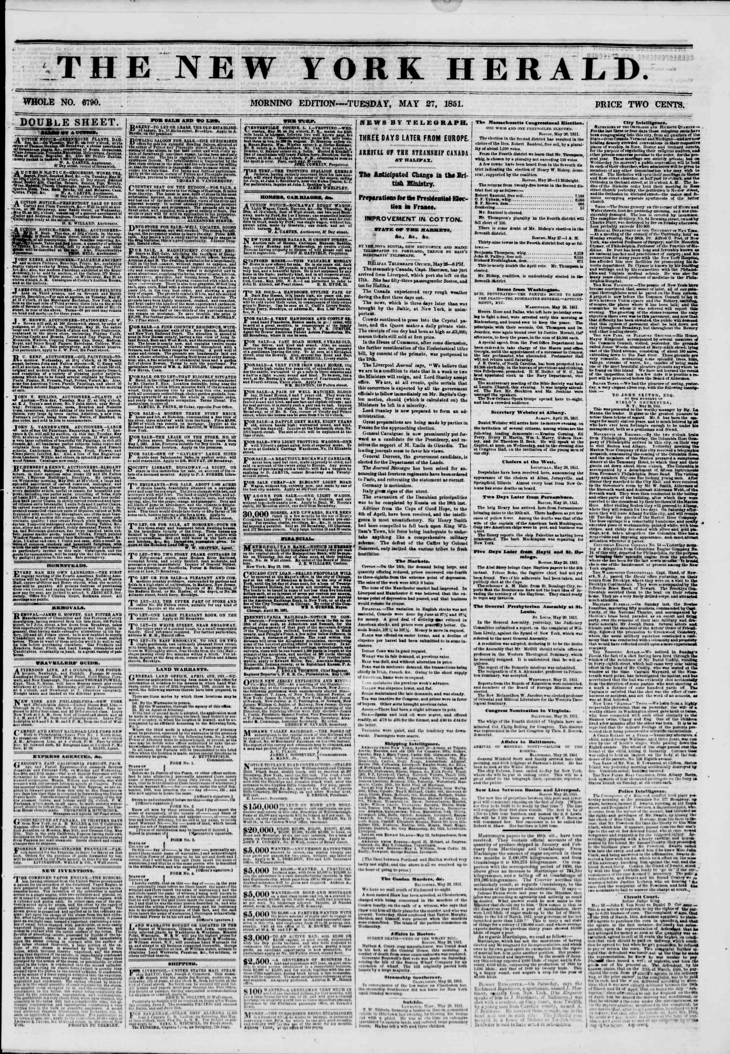 Newspaper of The New York Herald dated May 27, 1851 Page 1
