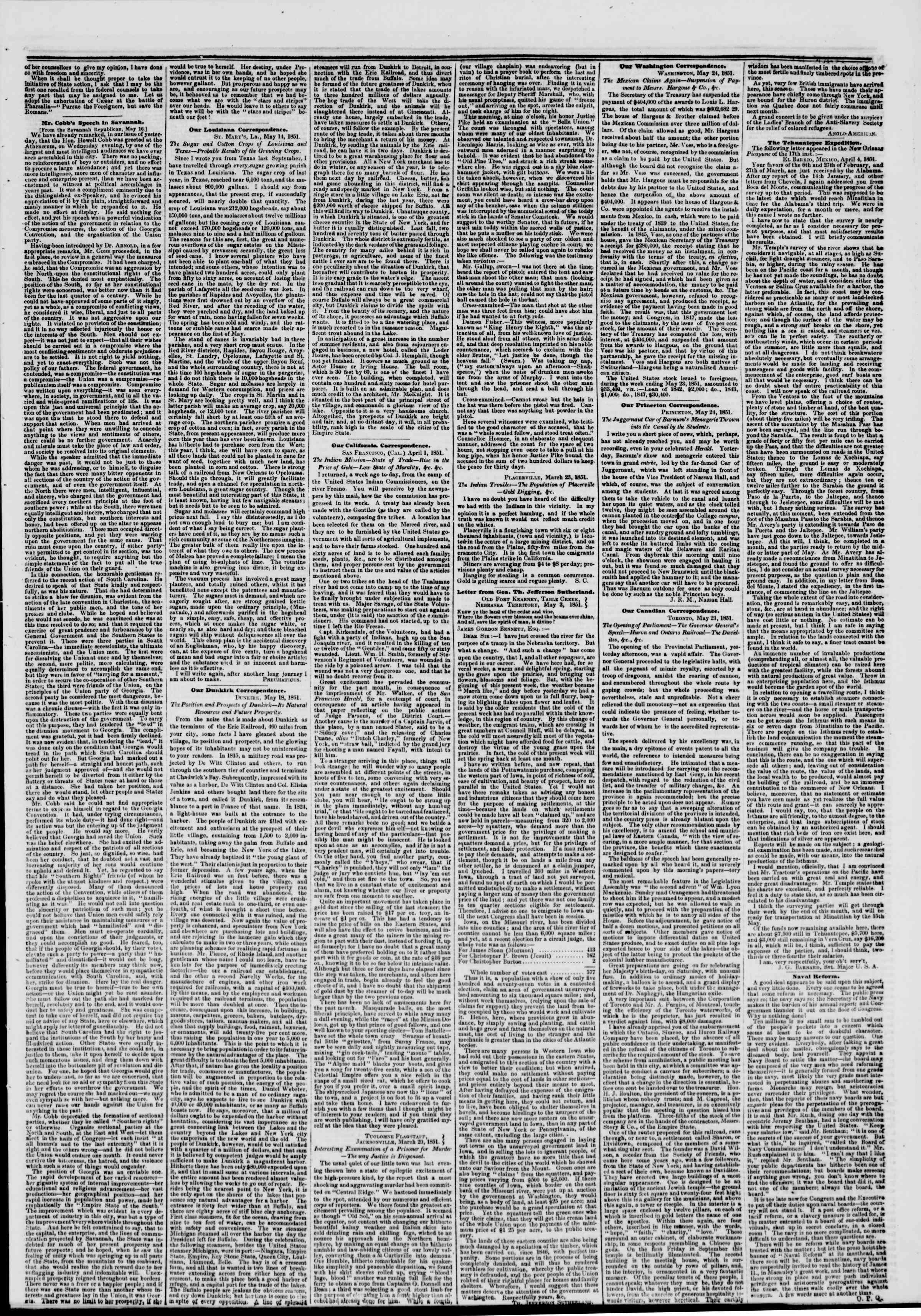 Newspaper of The New York Herald dated May 27, 1851 Page 3