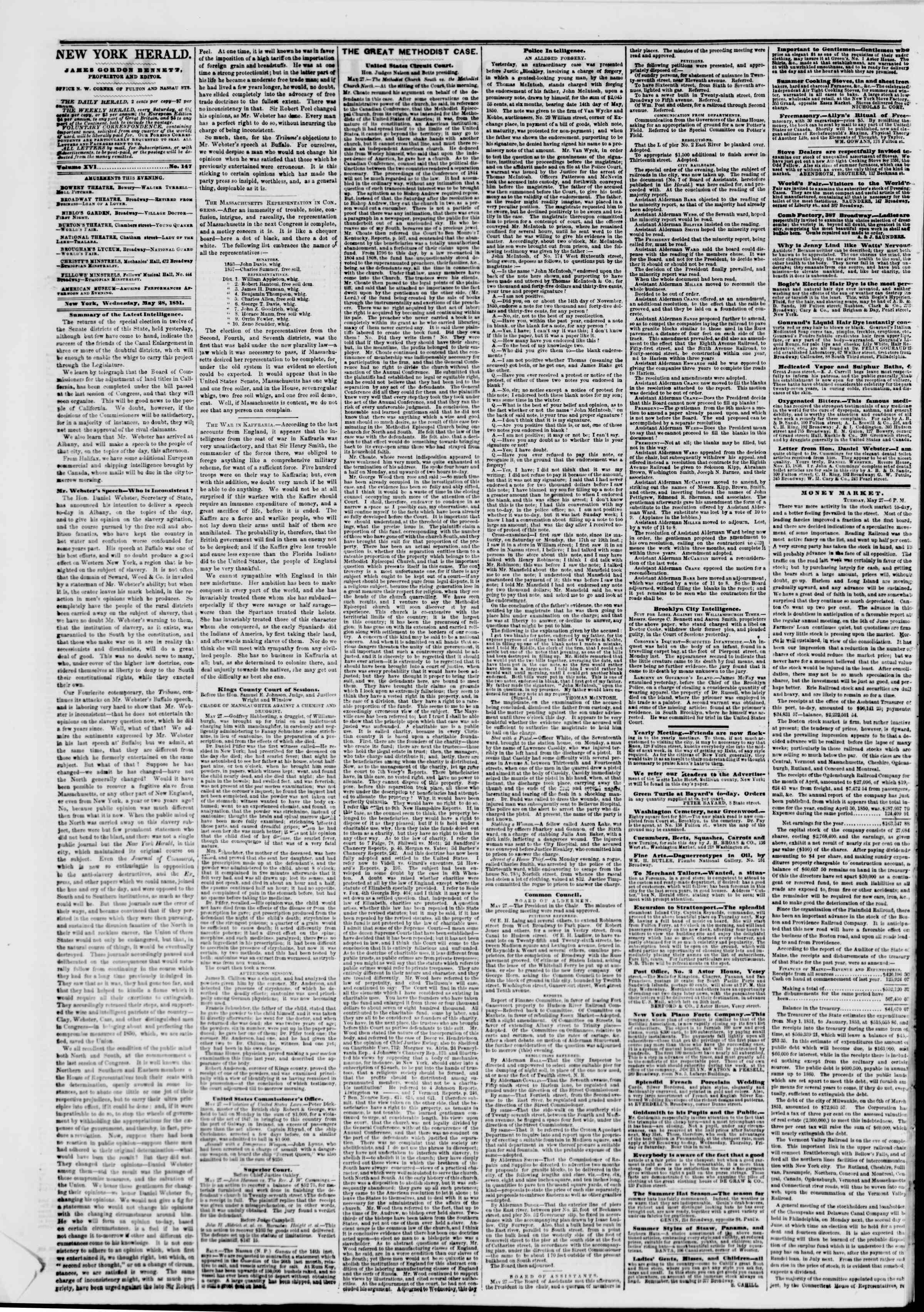 Newspaper of The New York Herald dated May 28, 1851 Page 2