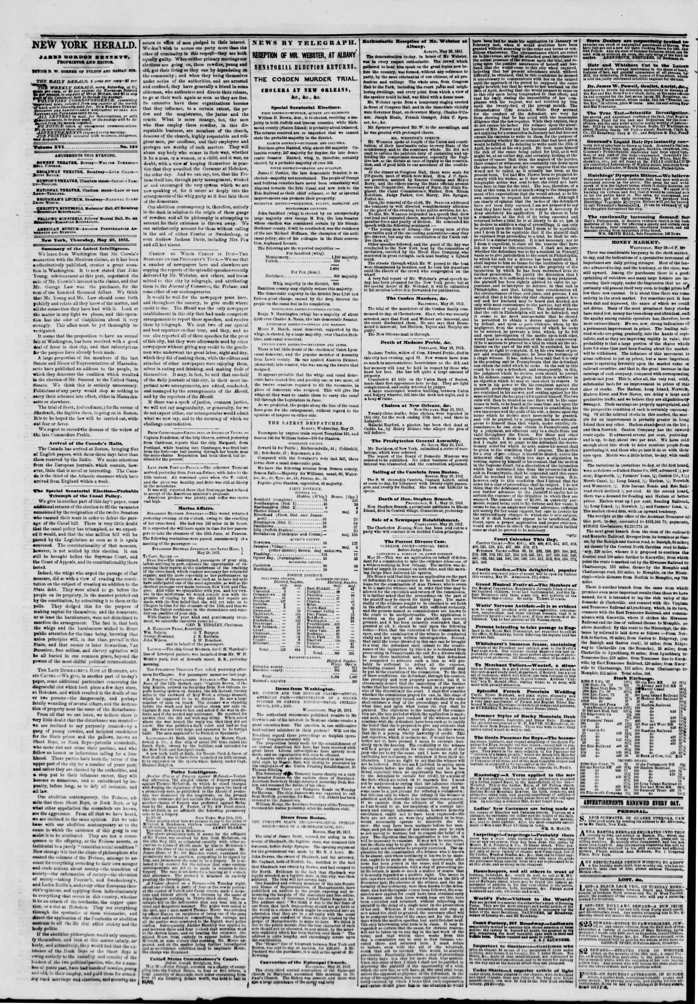Newspaper of The New York Herald dated May 29, 1851 Page 2