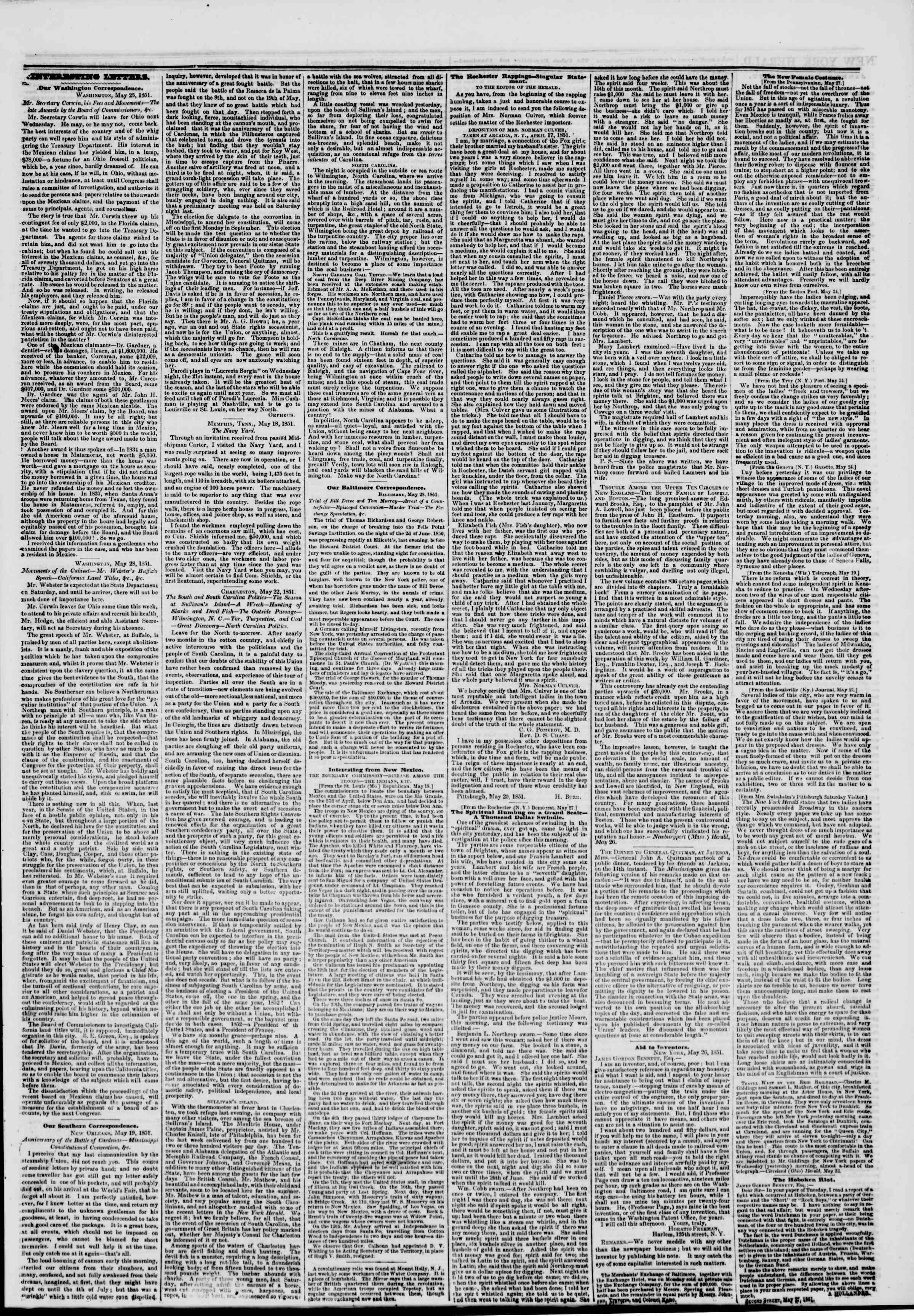 Newspaper of The New York Herald dated May 30, 1851 Page 3