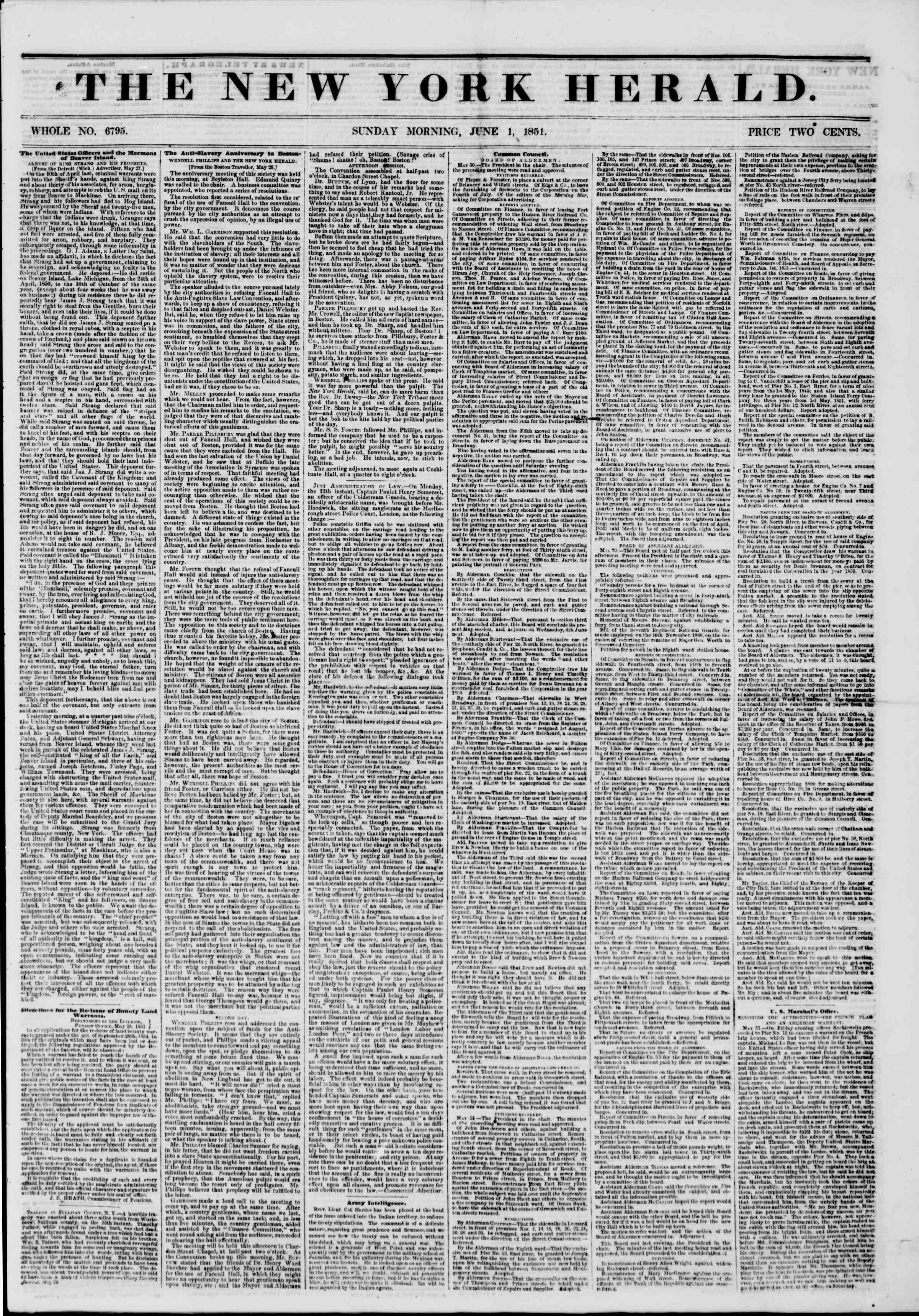 Newspaper of The New York Herald dated June 1, 1851 Page 1
