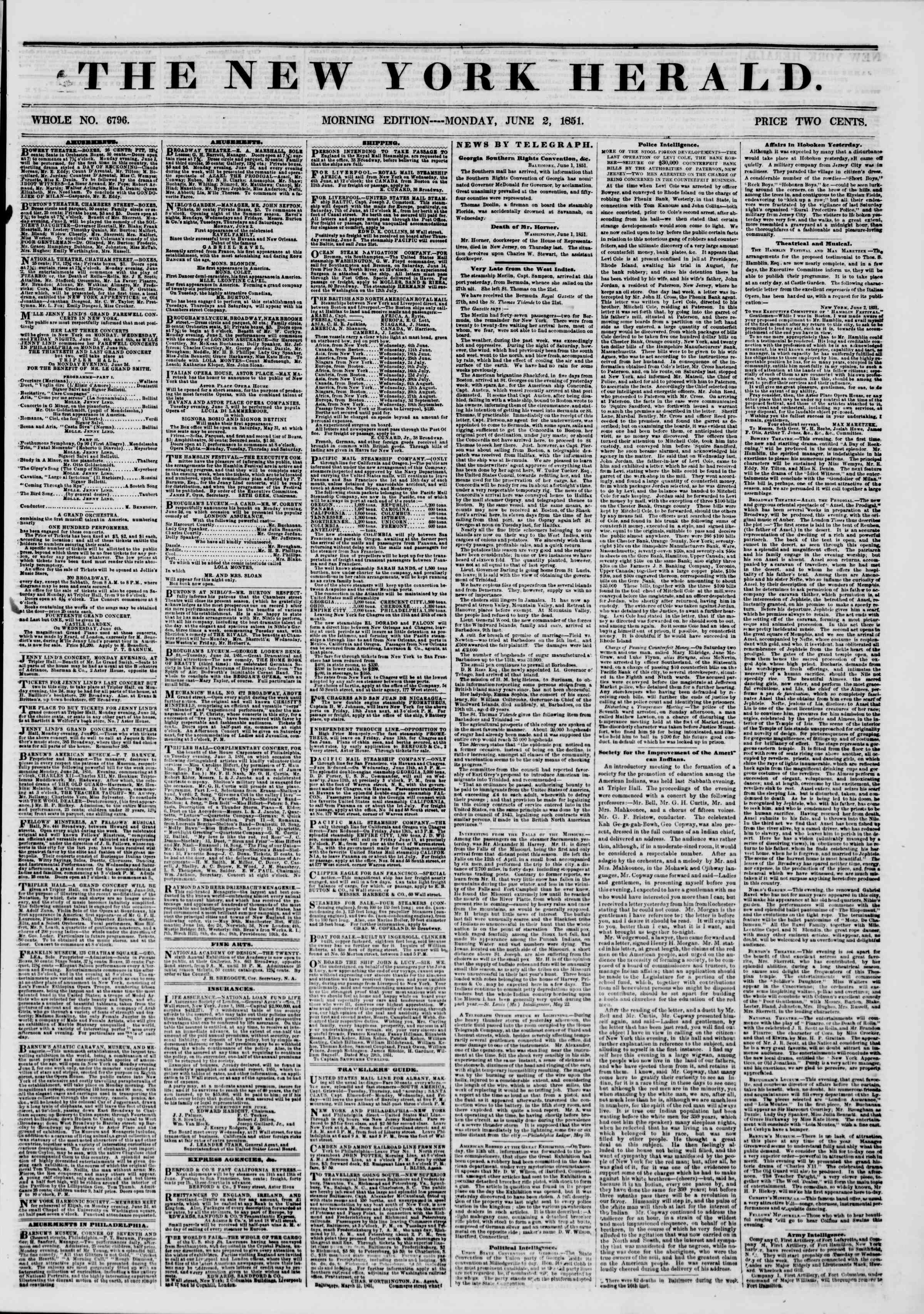 Newspaper of The New York Herald dated June 2, 1851 Page 1