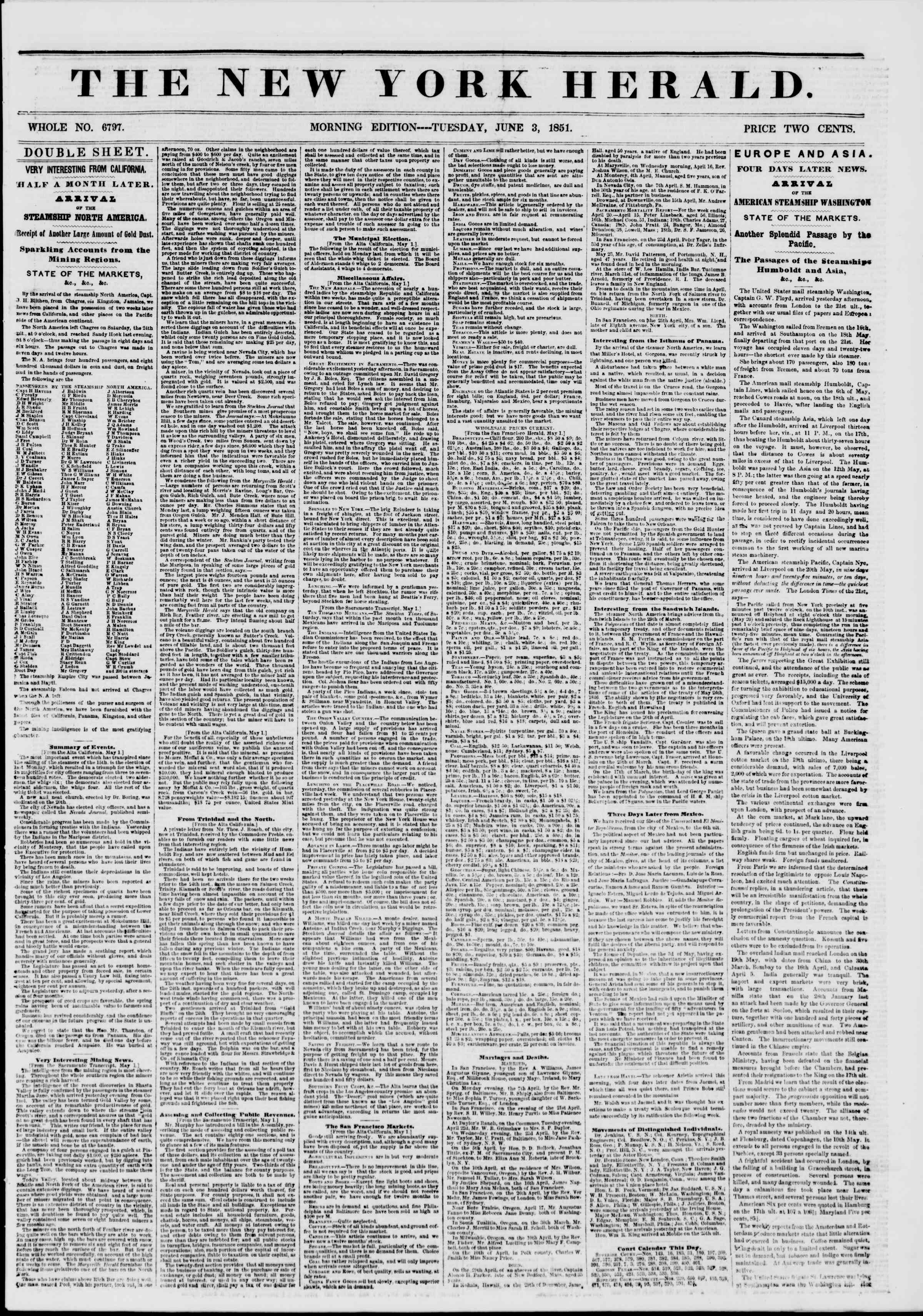 Newspaper of The New York Herald dated June 3, 1851 Page 1
