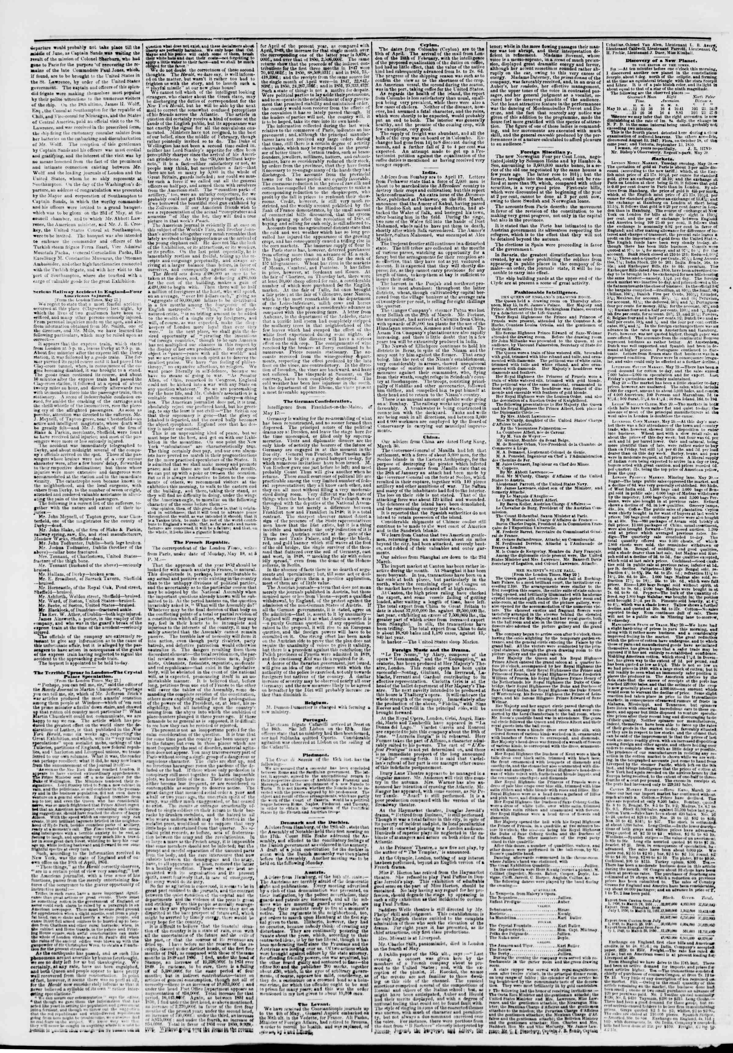 3 Haziran 1851 tarihli The New York Herald Gazetesi Sayfa 2