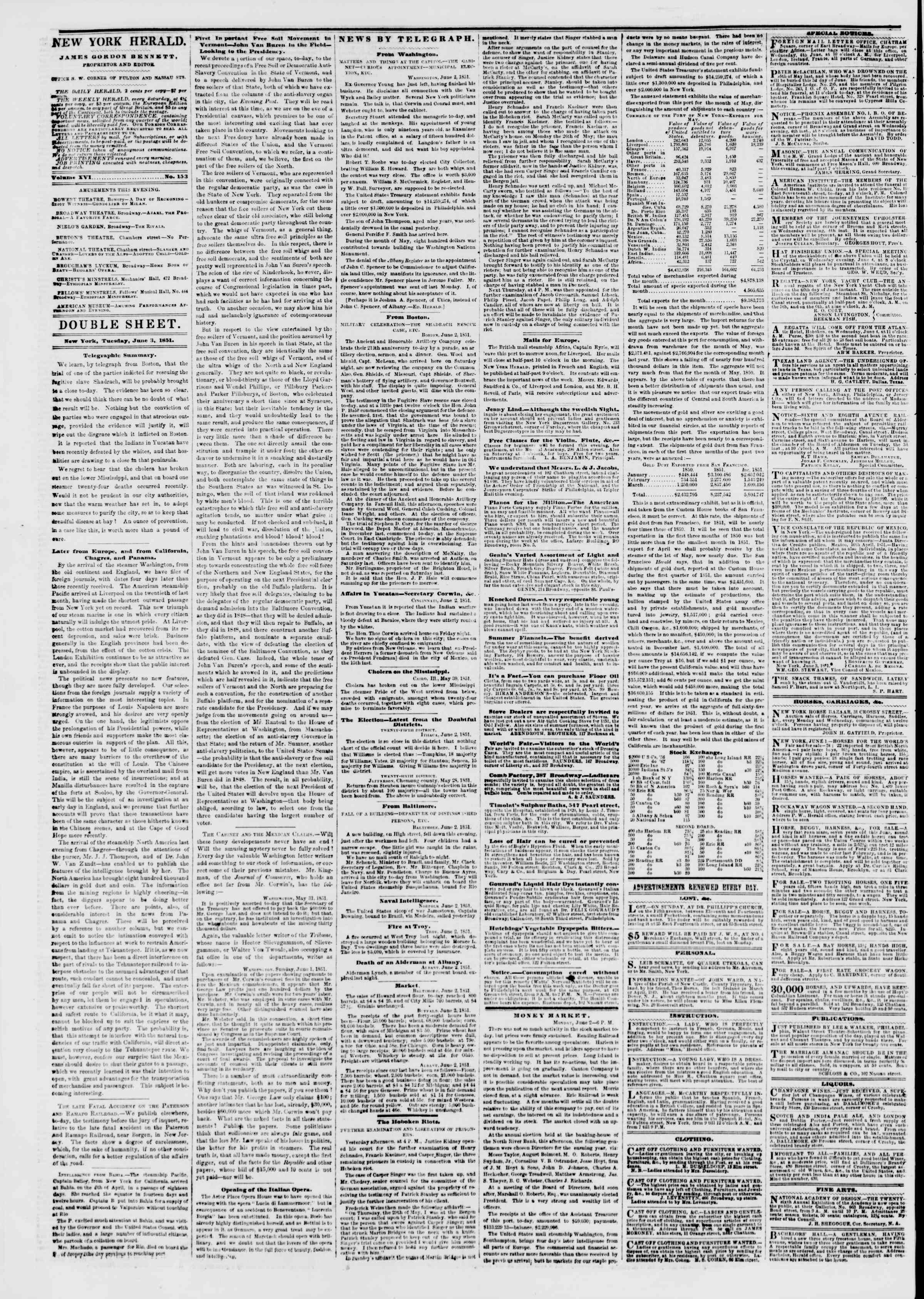 Newspaper of The New York Herald dated June 3, 1851 Page 4