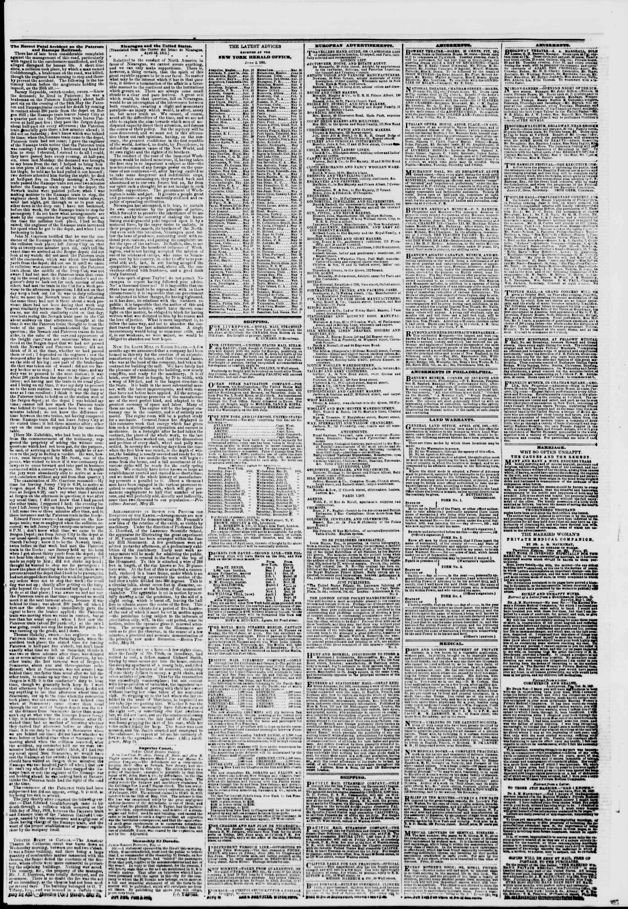 3 Haziran 1851 tarihli The New York Herald Gazetesi Sayfa 7