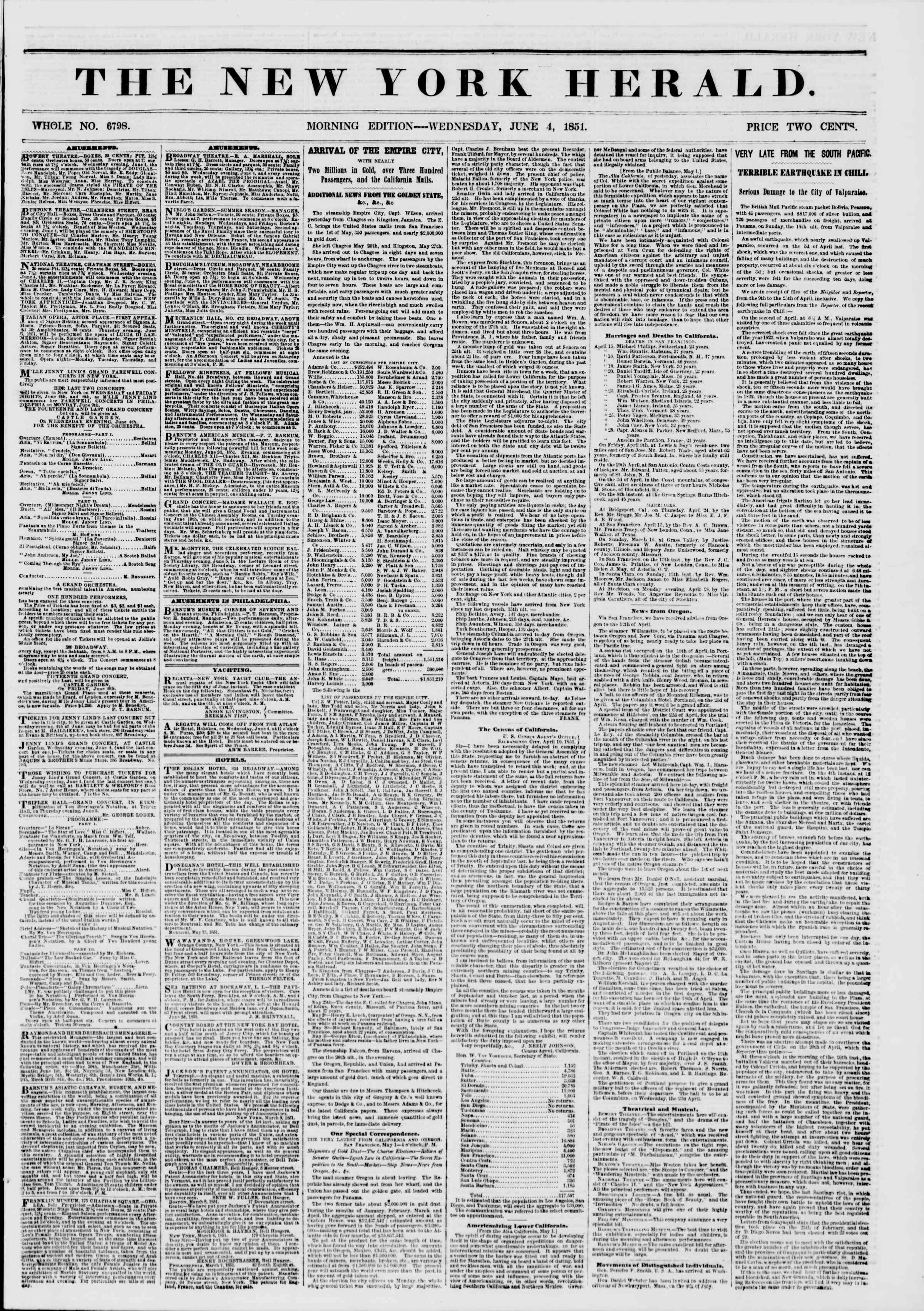 Newspaper of The New York Herald dated June 4, 1851 Page 1