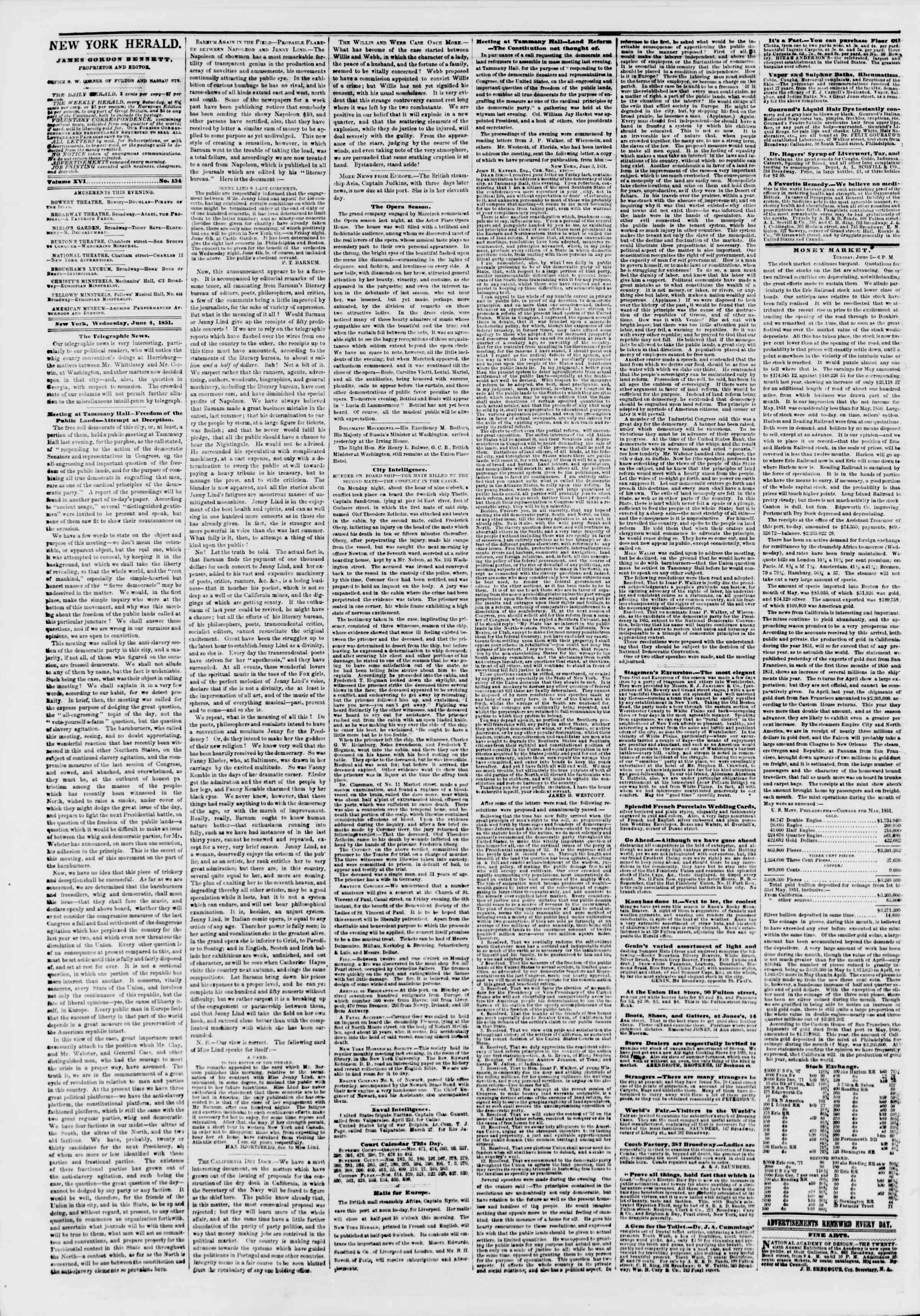Newspaper of The New York Herald dated June 4, 1851 Page 2