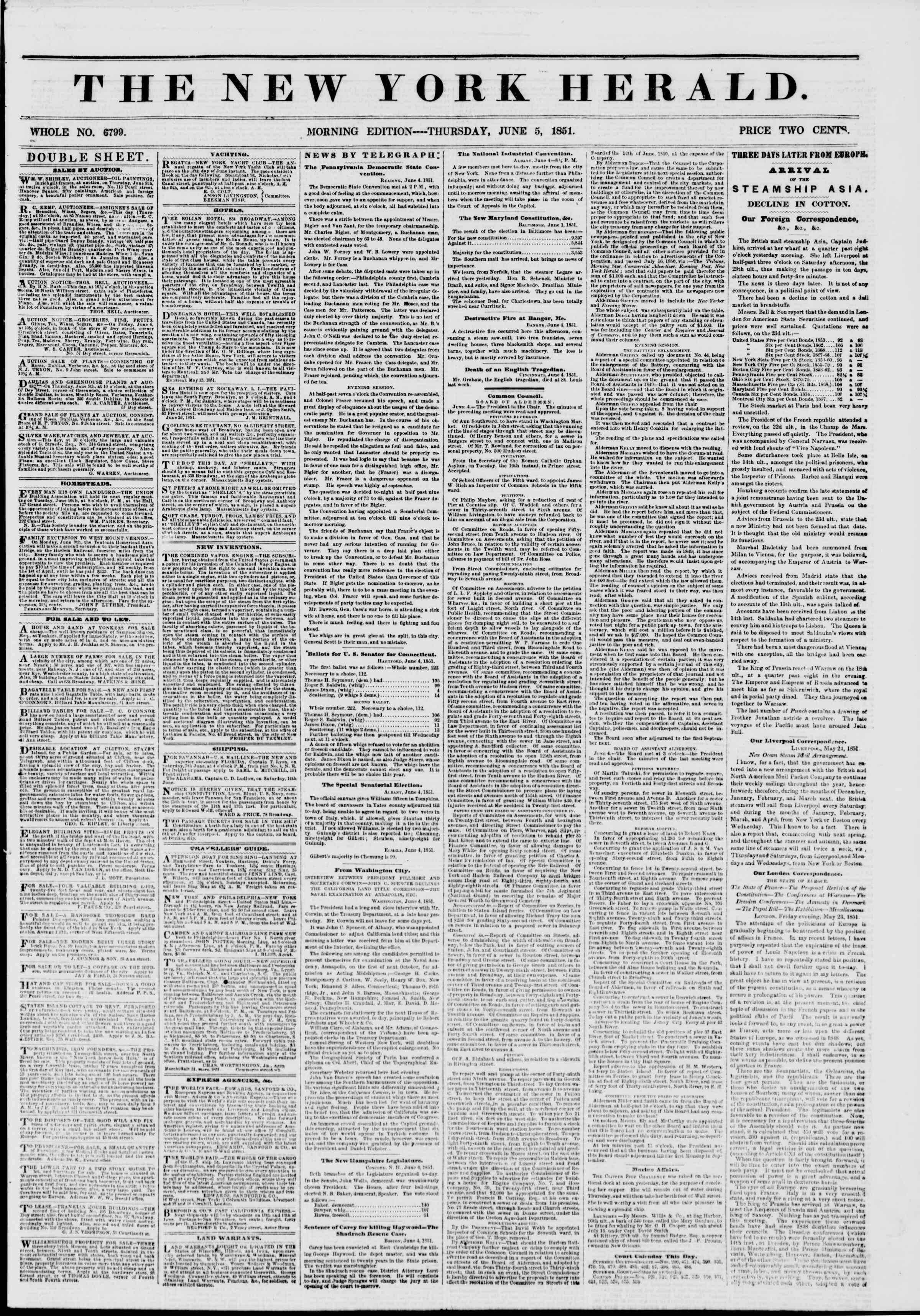 Newspaper of The New York Herald dated June 5, 1851 Page 1