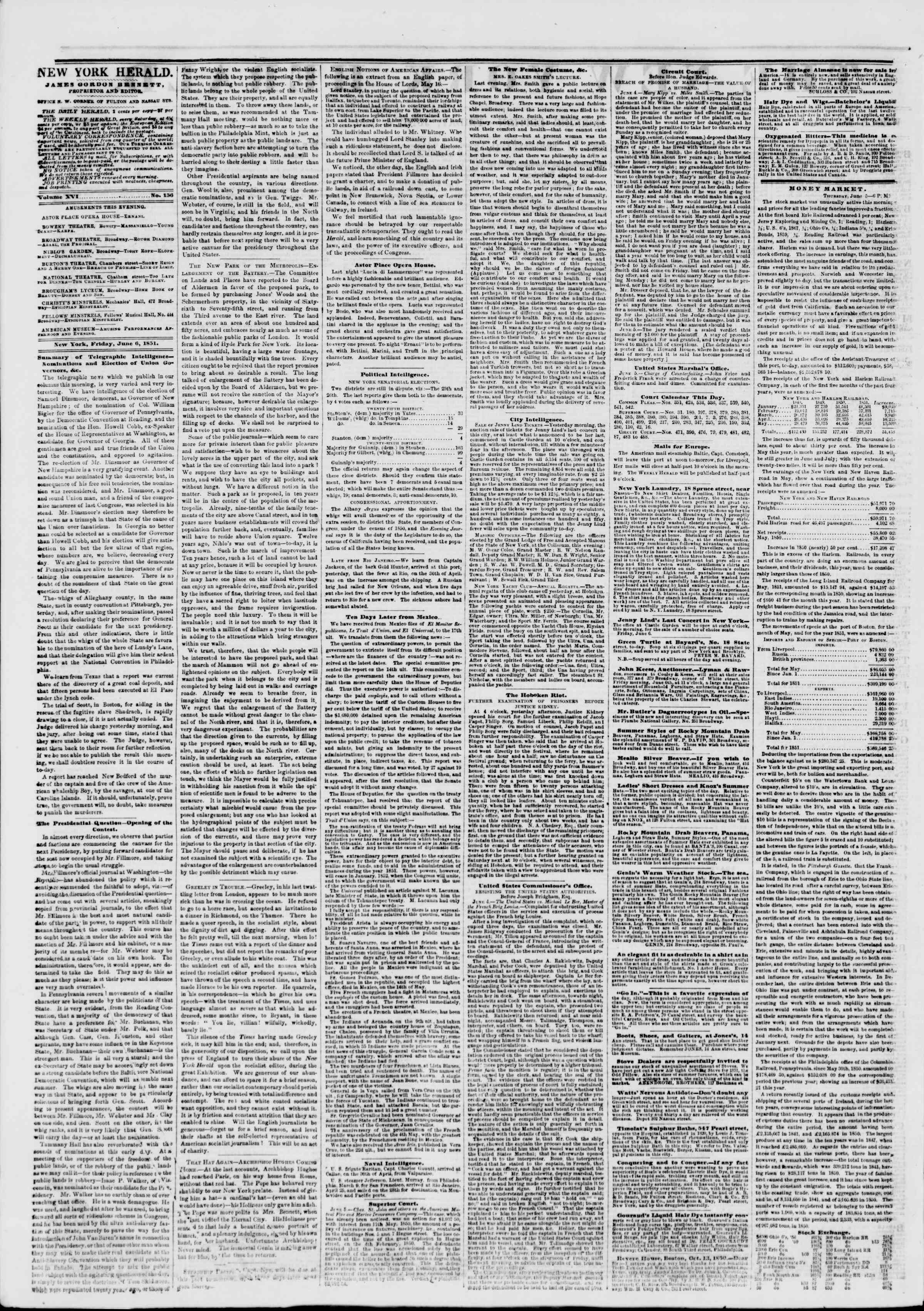 Newspaper of The New York Herald dated June 6, 1851 Page 2