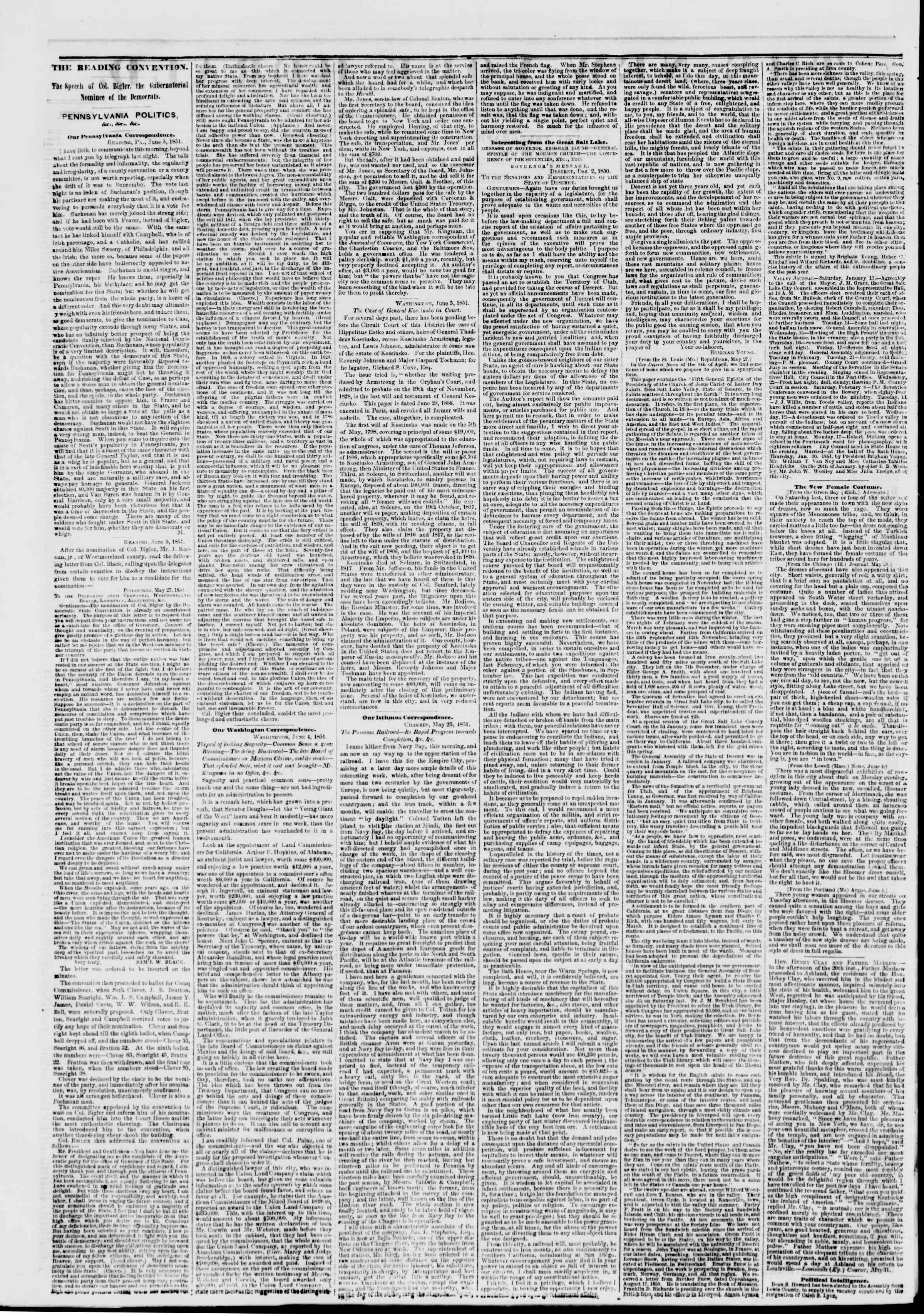 Newspaper of The New York Herald dated June 7, 1851 Page 2