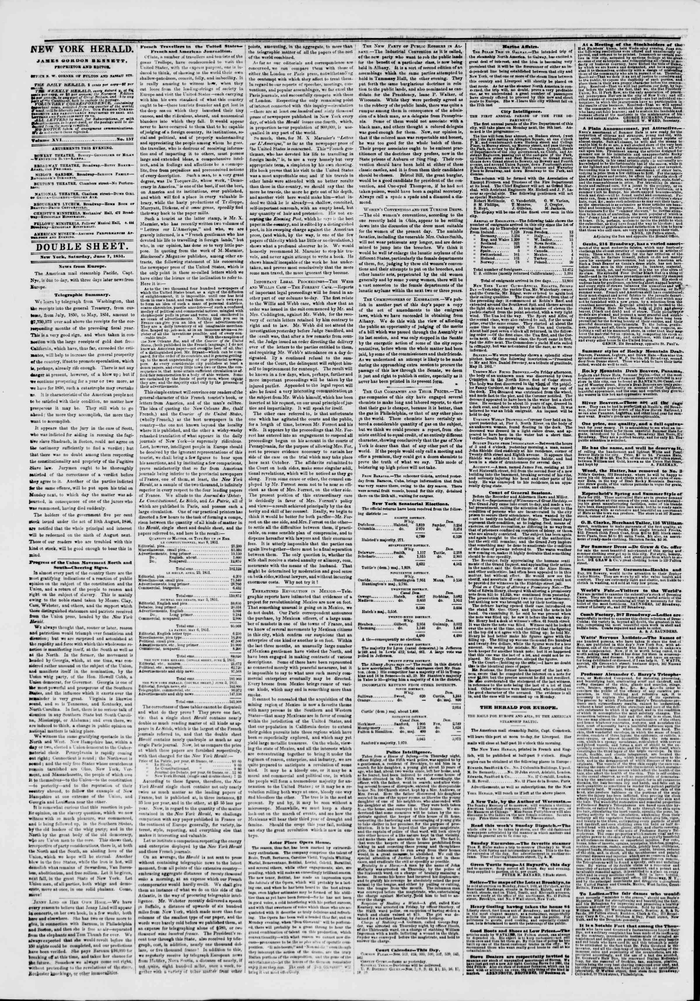 Newspaper of The New York Herald dated June 7, 1851 Page 4