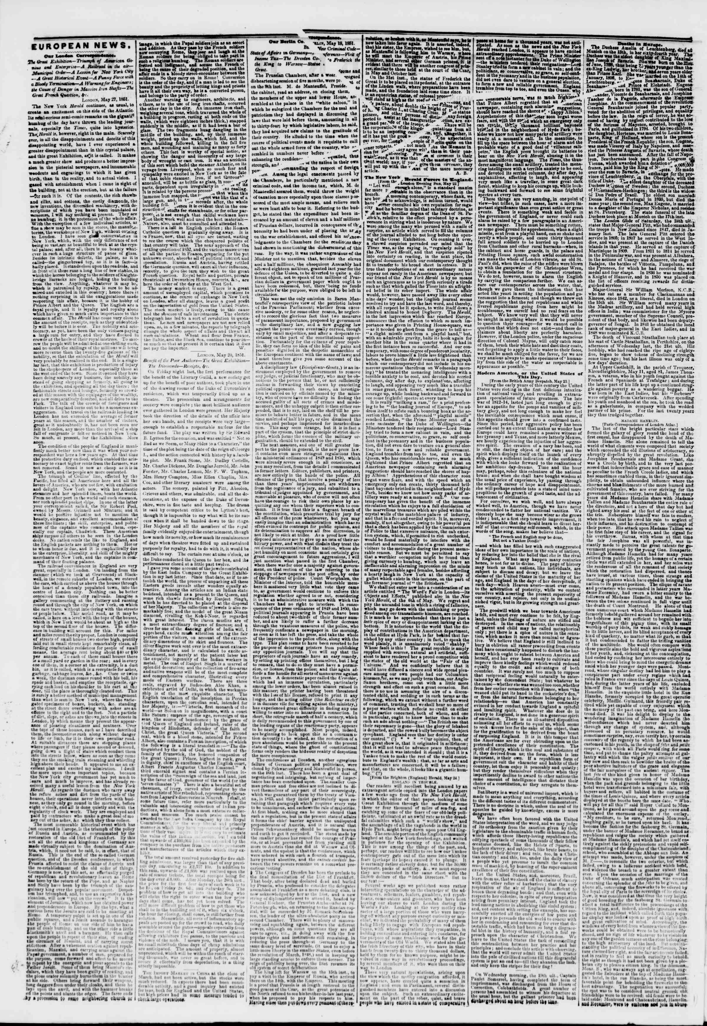 Newspaper of The New York Herald dated June 10, 1851 Page 2