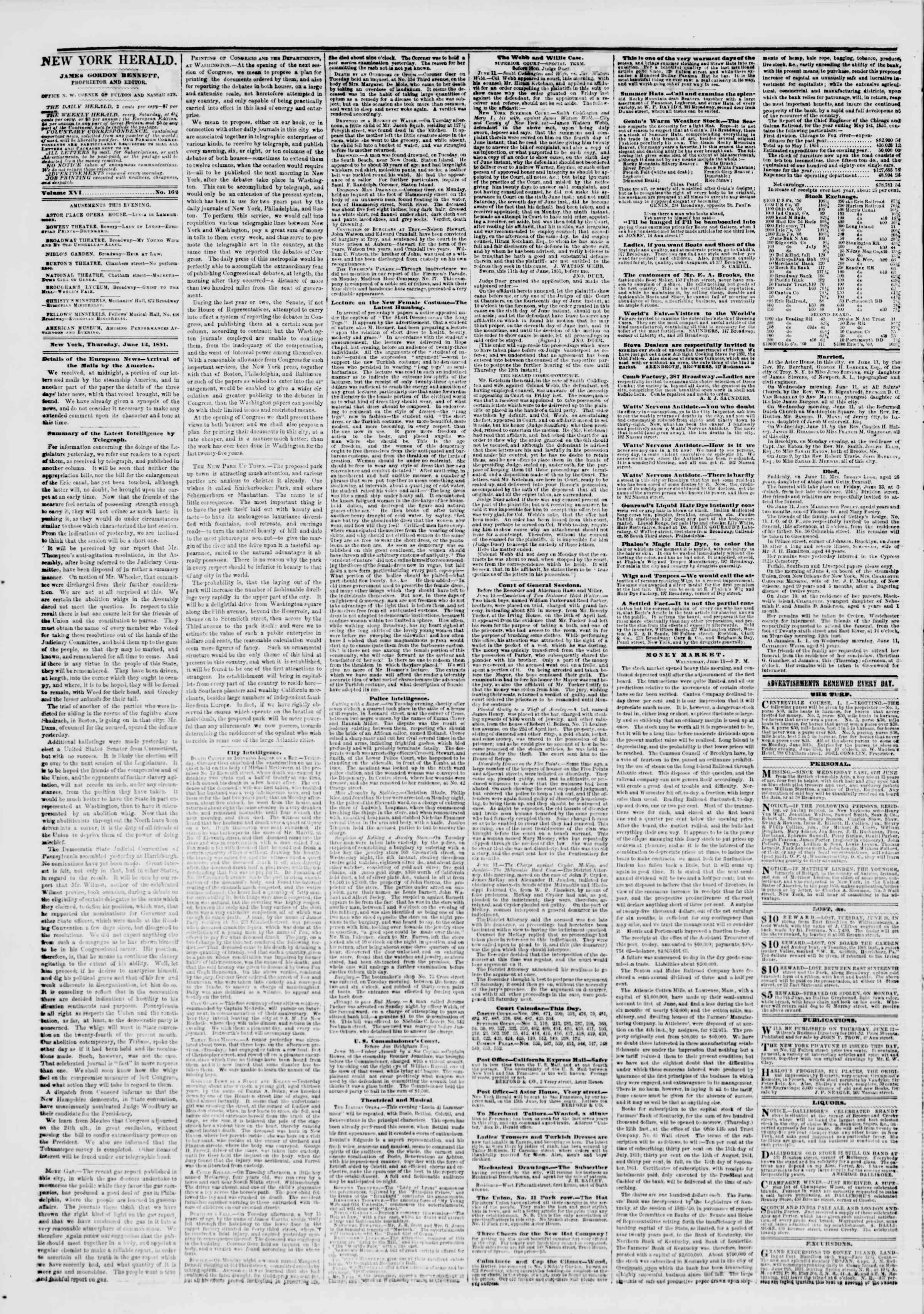 Newspaper of The New York Herald dated June 12, 1851 Page 2