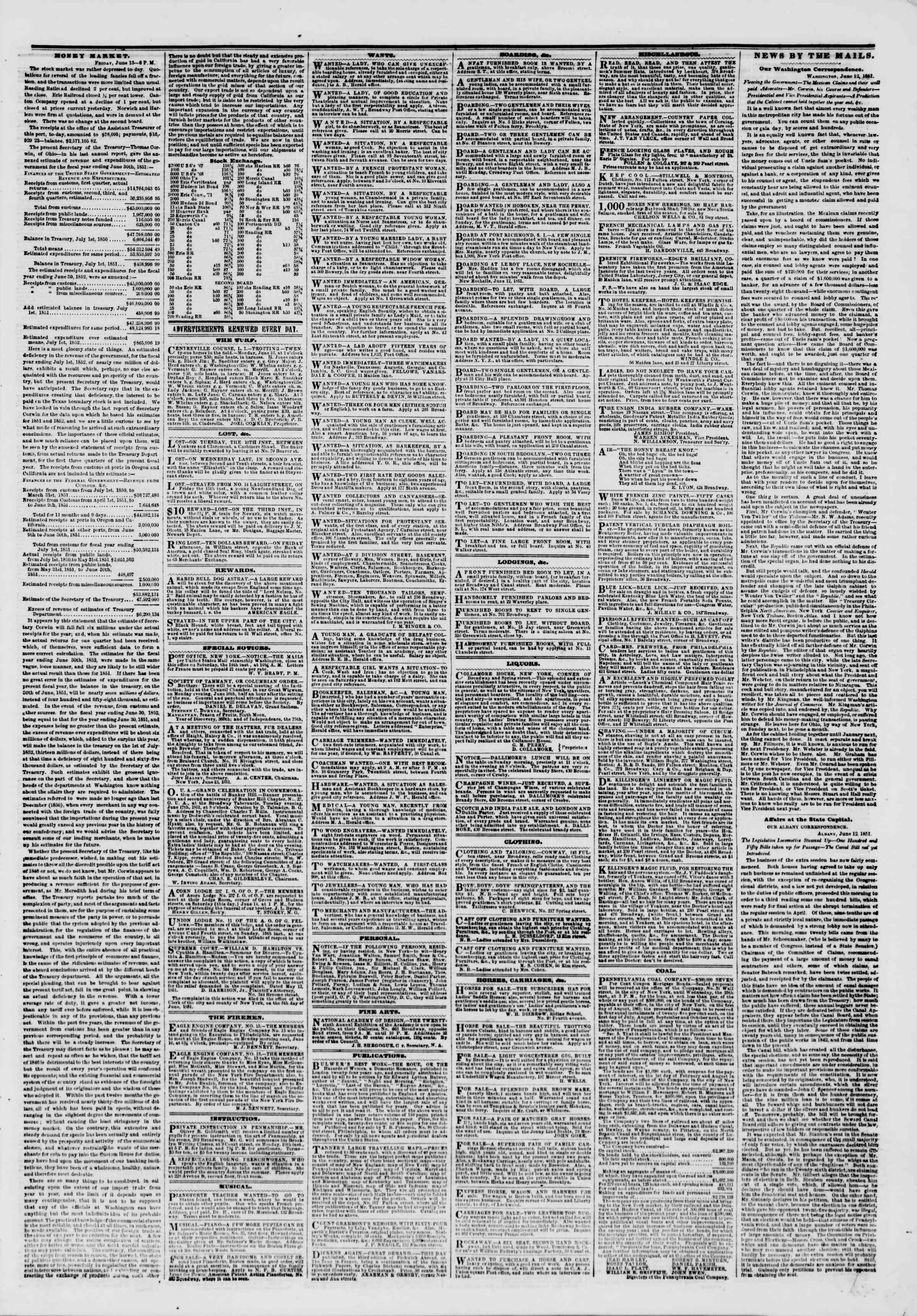 Newspaper of The New York Herald dated June 14, 1851 Page 3