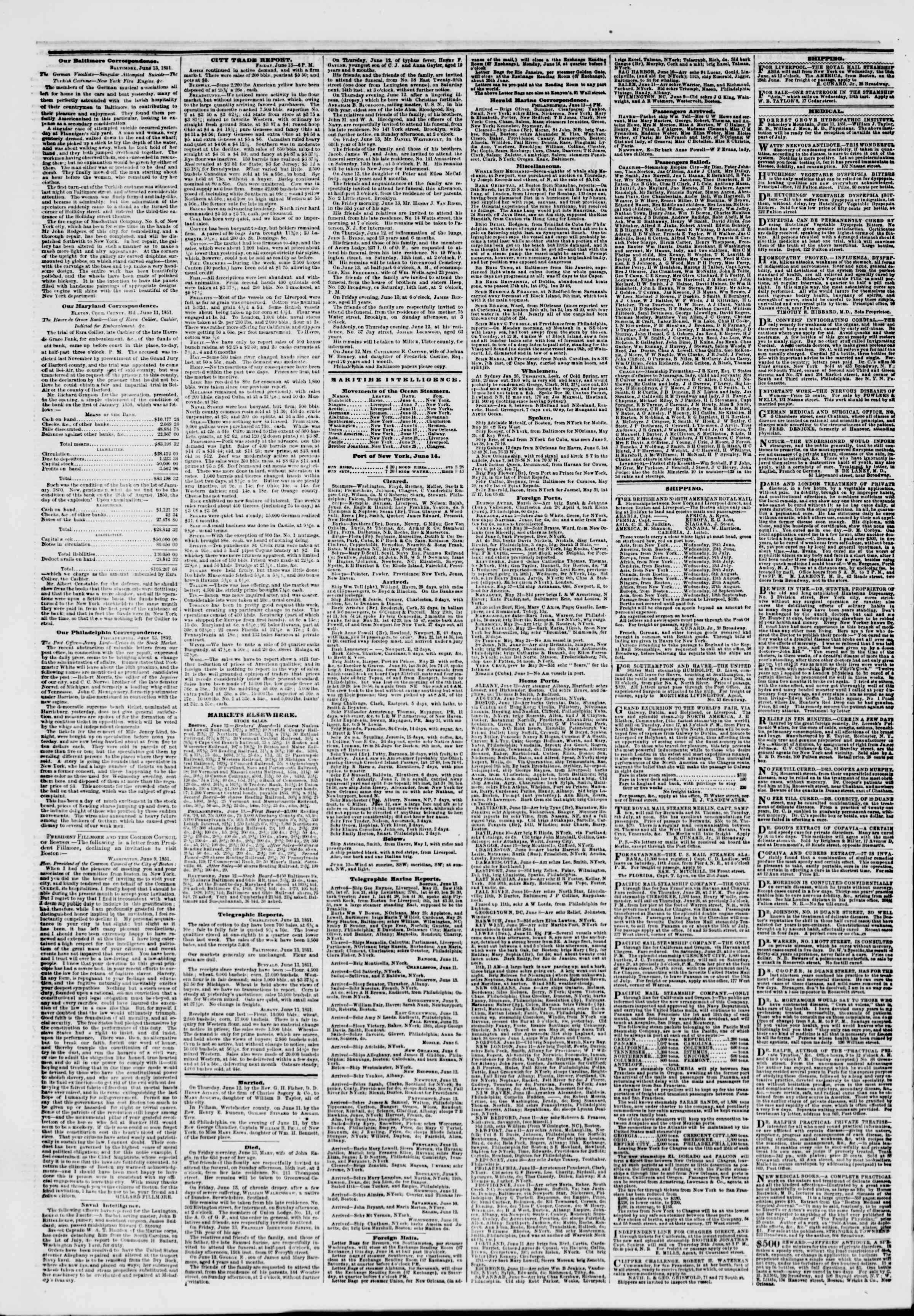 Newspaper of The New York Herald dated June 14, 1851 Page 4