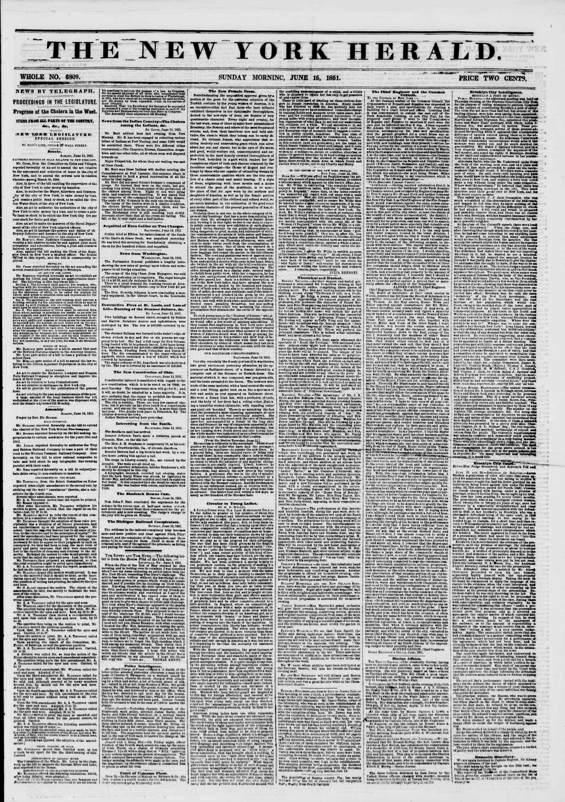 Newspaper of The New York Herald dated June 15, 1851 Page 1