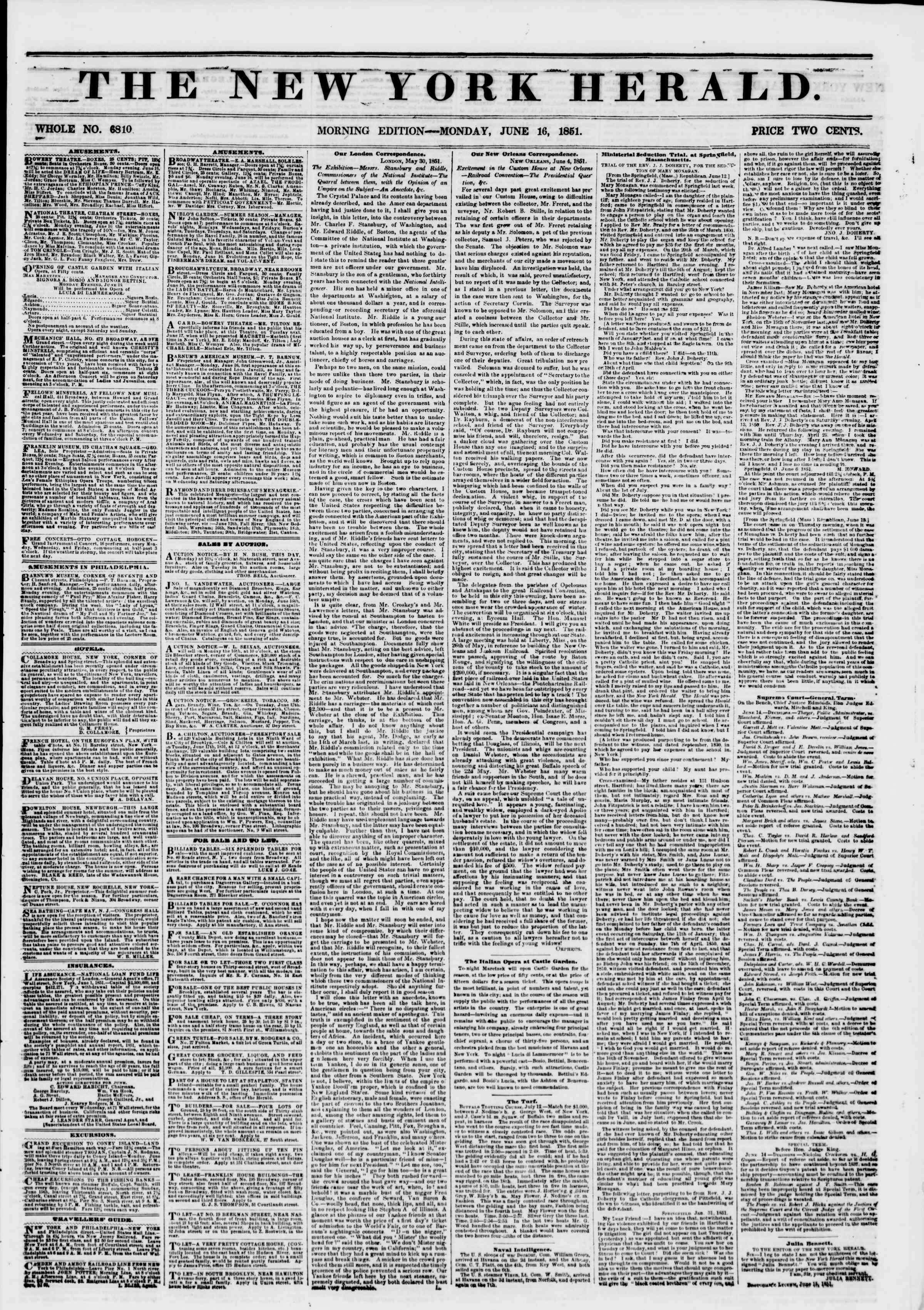 Newspaper of The New York Herald dated June 16, 1851 Page 1