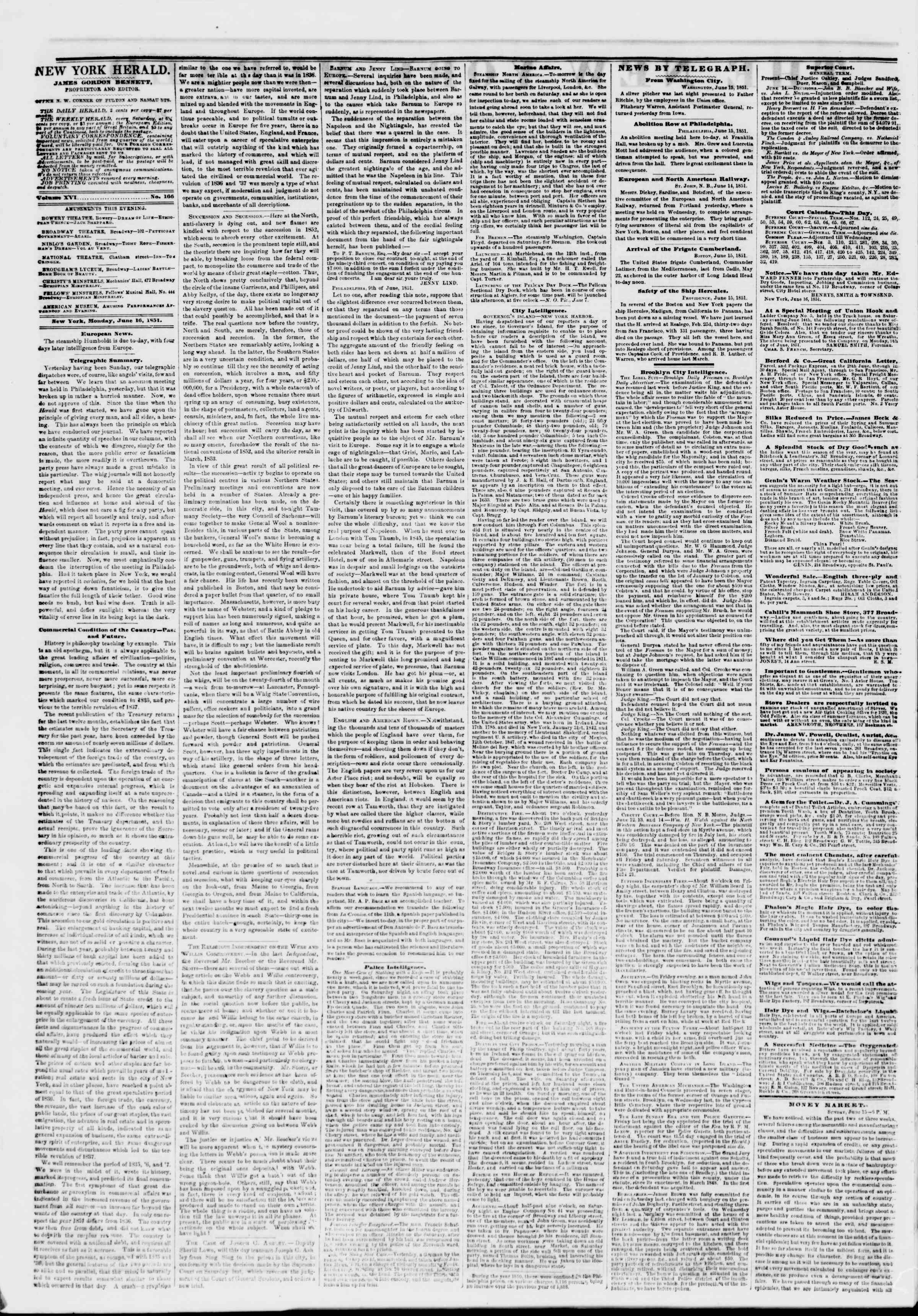 Newspaper of The New York Herald dated June 16, 1851 Page 2